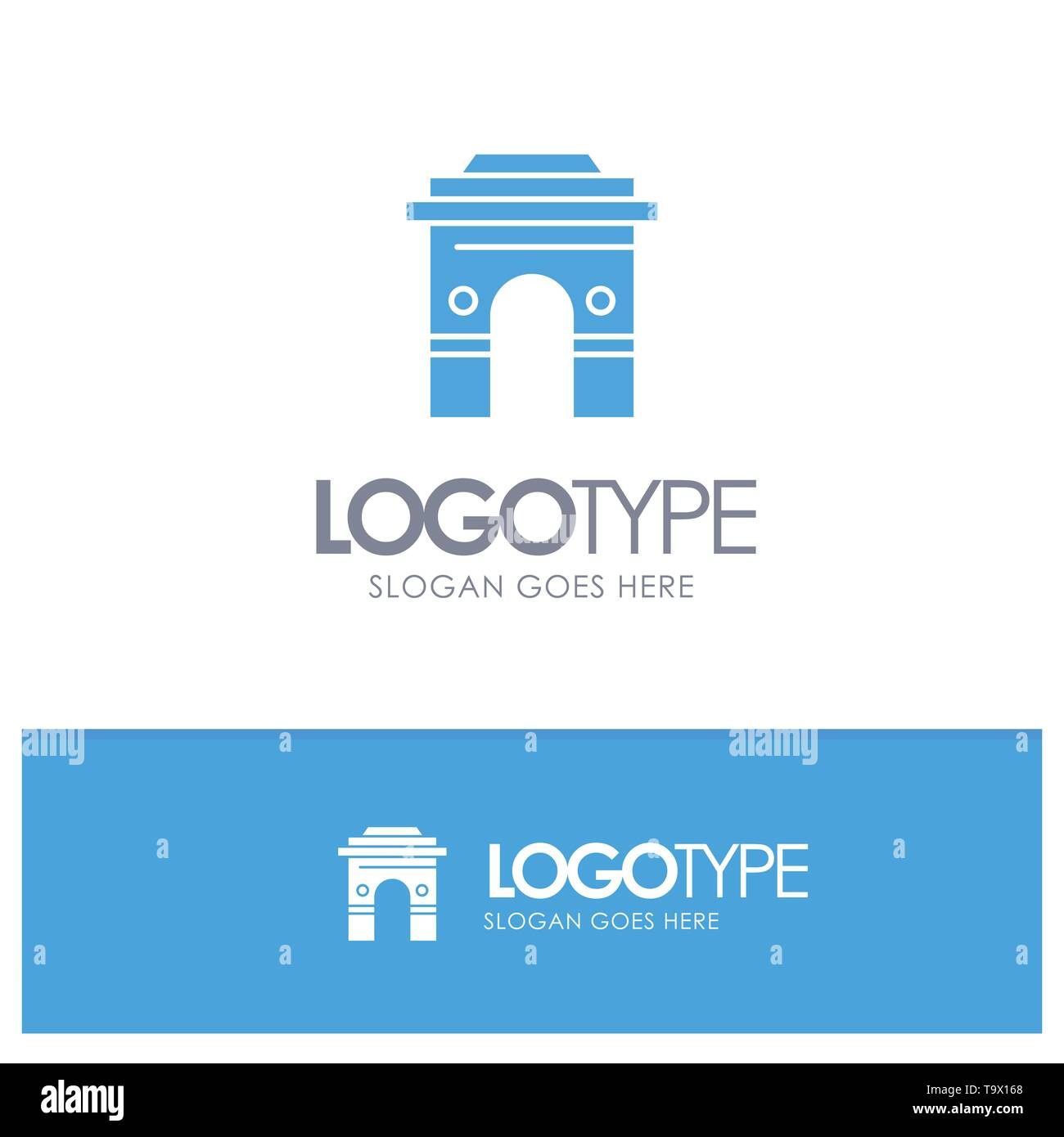 Culture, Global, Hinduism, India, Indian, Srilanka, Temple Blue Solid Logo with place for tagline - Stock Image