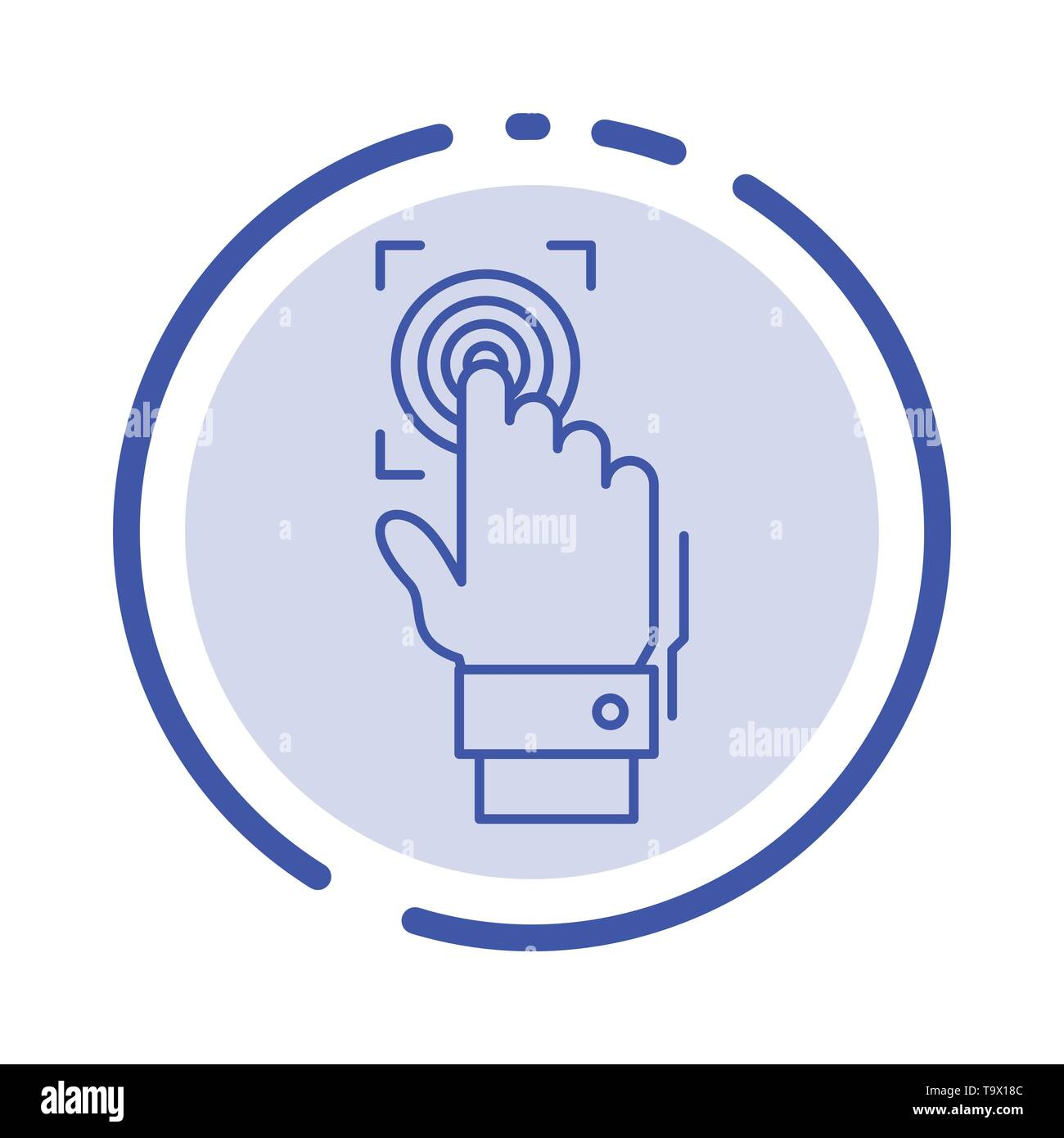 fingerprint identity recognition scan scanner scanning blue dotted line line icon stock vector image art alamy alamy
