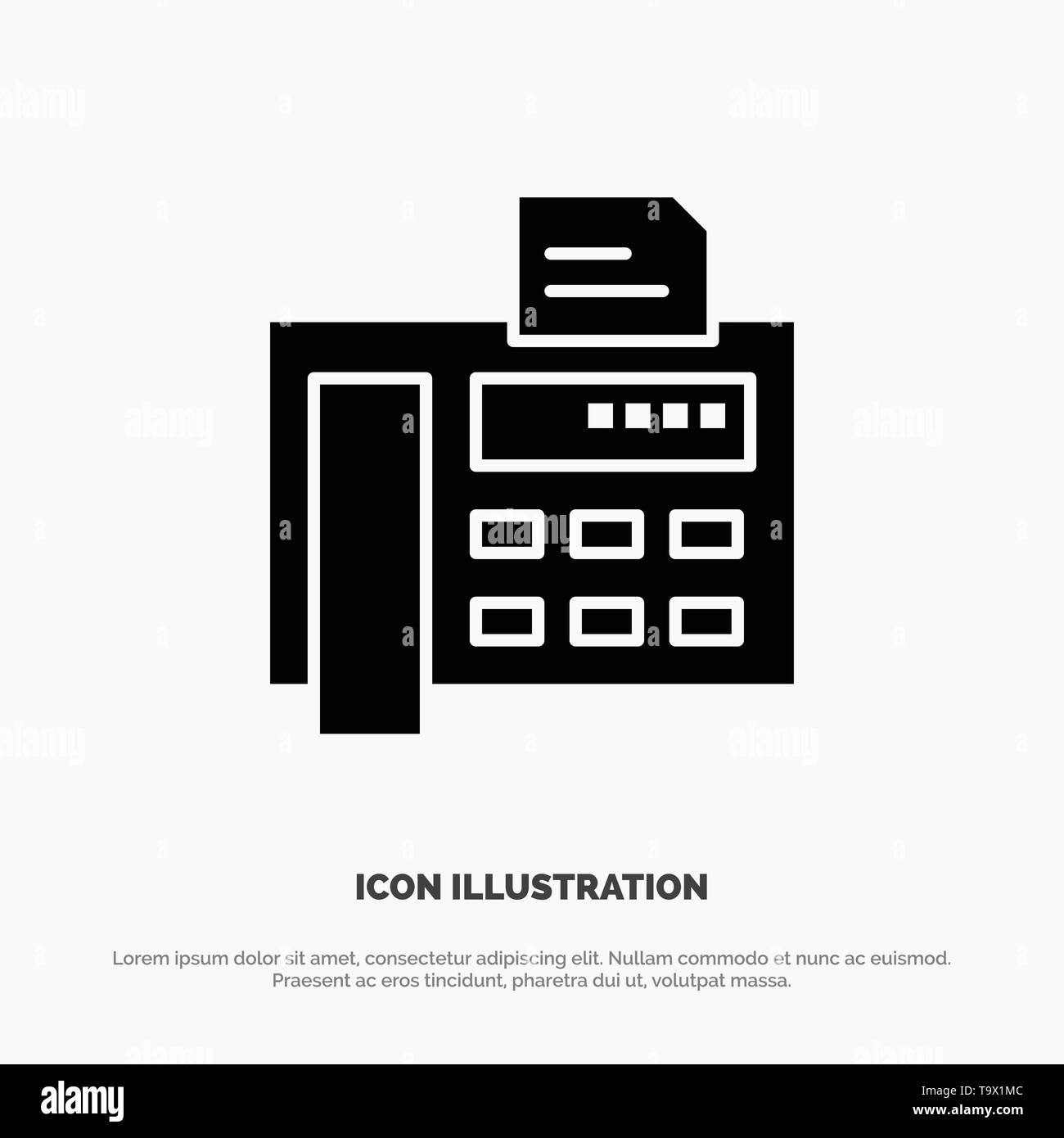 Fax, Phone, Typewriter, Fax Machine solid Glyph Icon vector - Stock Image