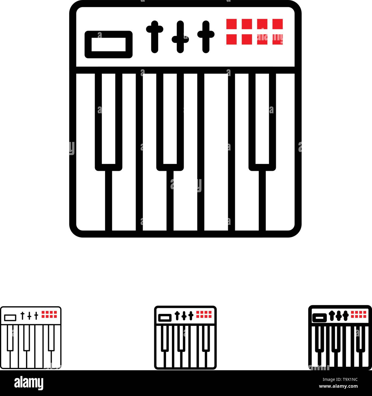 Controller, Hardware, Keyboard, Midi, Music Bold and thin black line icon set - Stock Image