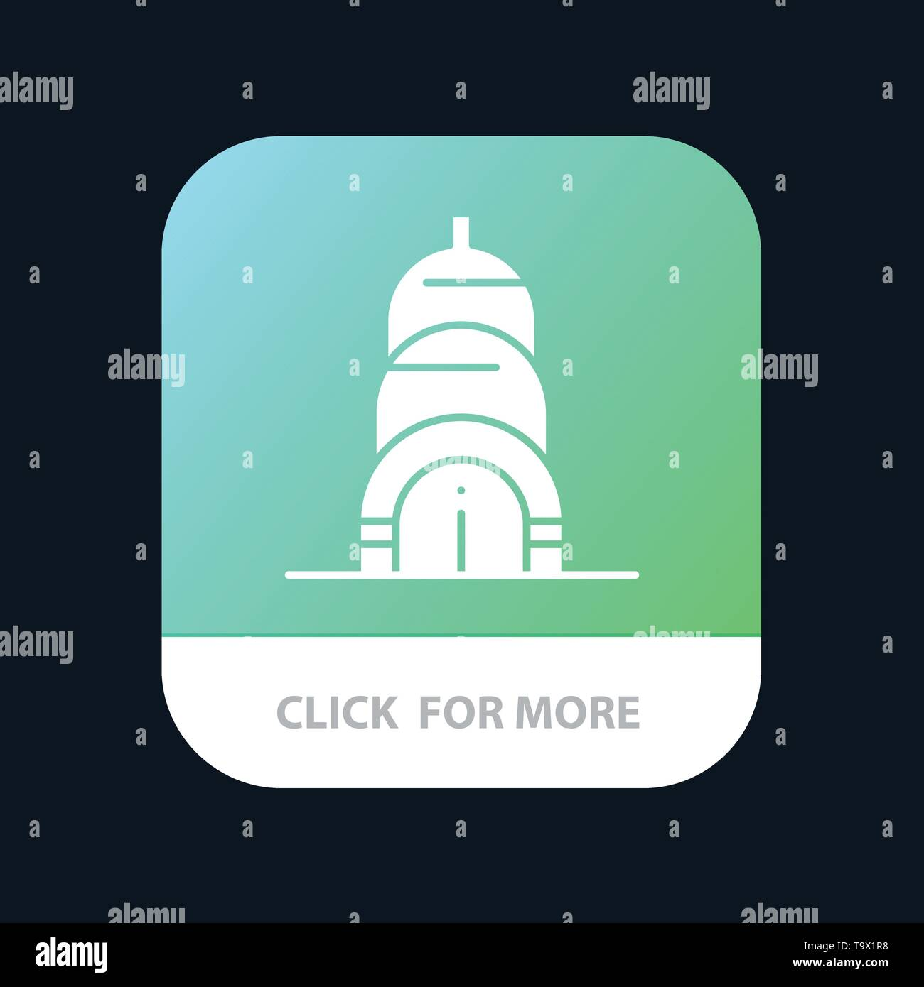 Chrysler, Building, Usa Mobile App Button. Android and IOS Glyph Version - Stock Vector