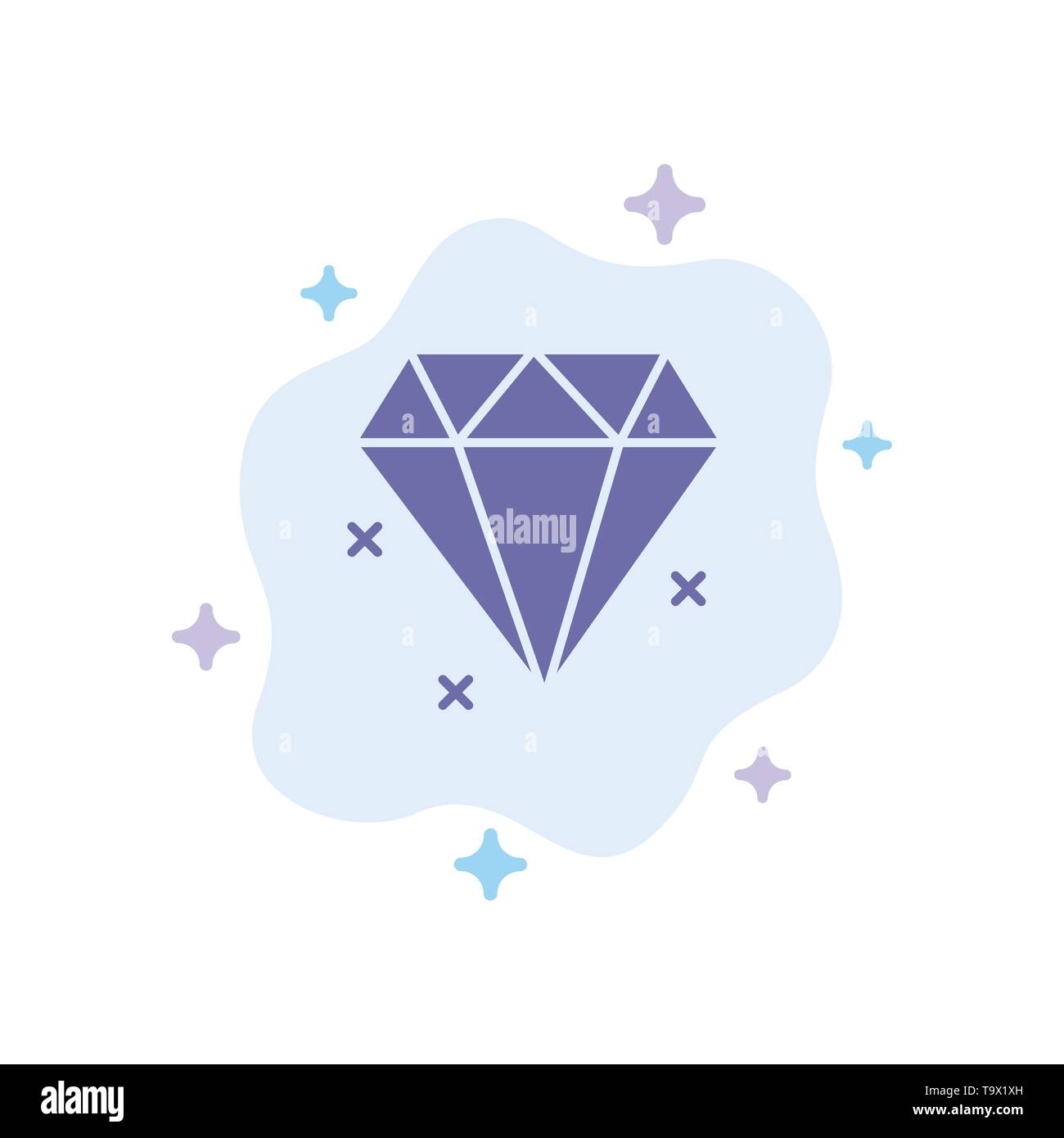 Diamond, Jewelry Blue Icon on Abstract Cloud Background - Stock Image