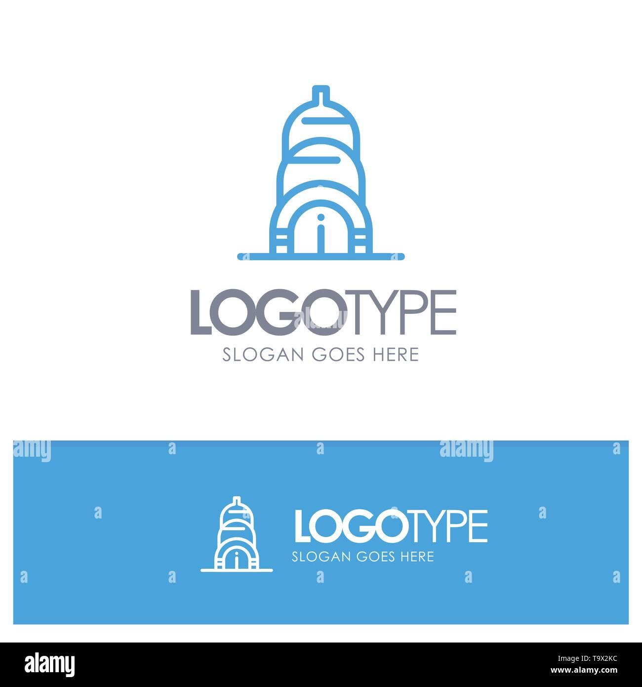 Chrysler, Building, Usa Blue Outline Logo Place for Tagline - Stock Vector