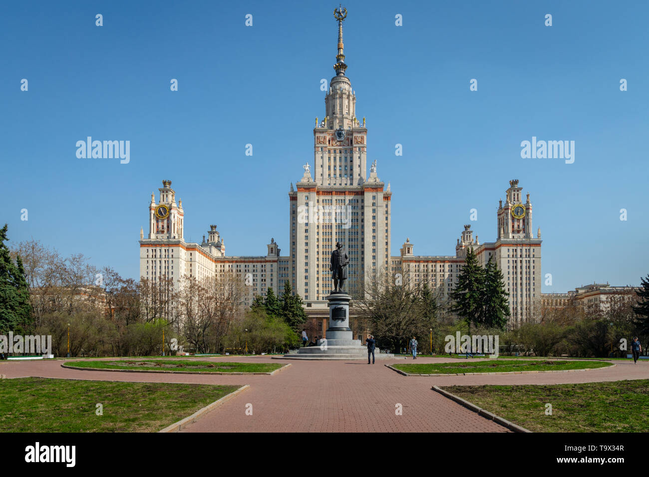 Moscow, Russia - April 2019: Main building of Moscow State University, Moscow, Russia. It is the highest-ranking Russian educational institution. - Stock Image
