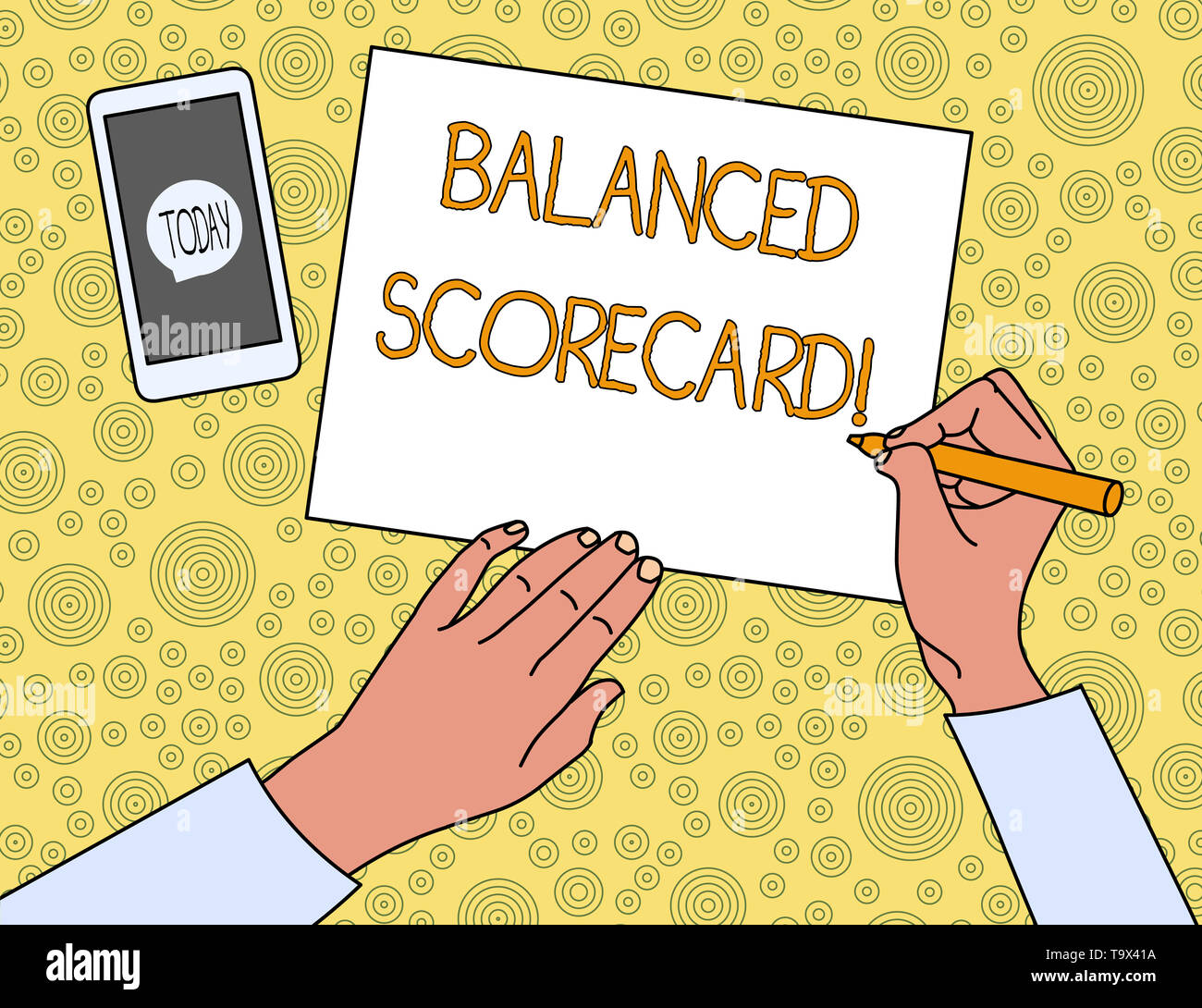 Handwriting text Balanced Scorecard. Conceptual photo a perforanalysisce metric used in strategic analysisagement Top View Man Writing Blank Paper Pen - Stock Image