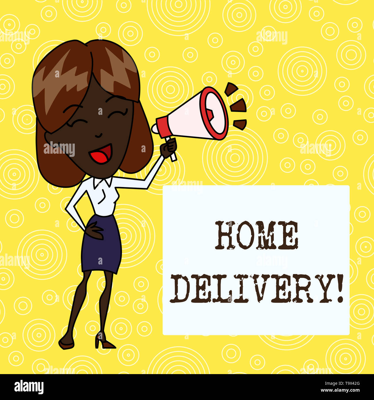 Handwriting text Home Delivery. Conceptual photo act of taking goods or parcel directly to customers home Young Woman Speaking into Blowhorn Volume Ic - Stock Image