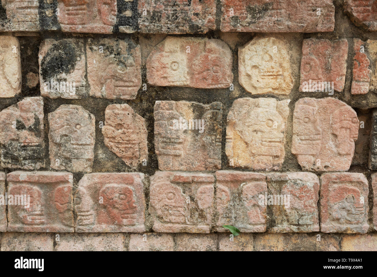 Close up of the Skull Platform, where the heads of Mayan victims, usually defeated enemies, were displayed; Chichen Itza, Mexico Latin America Stock Photo