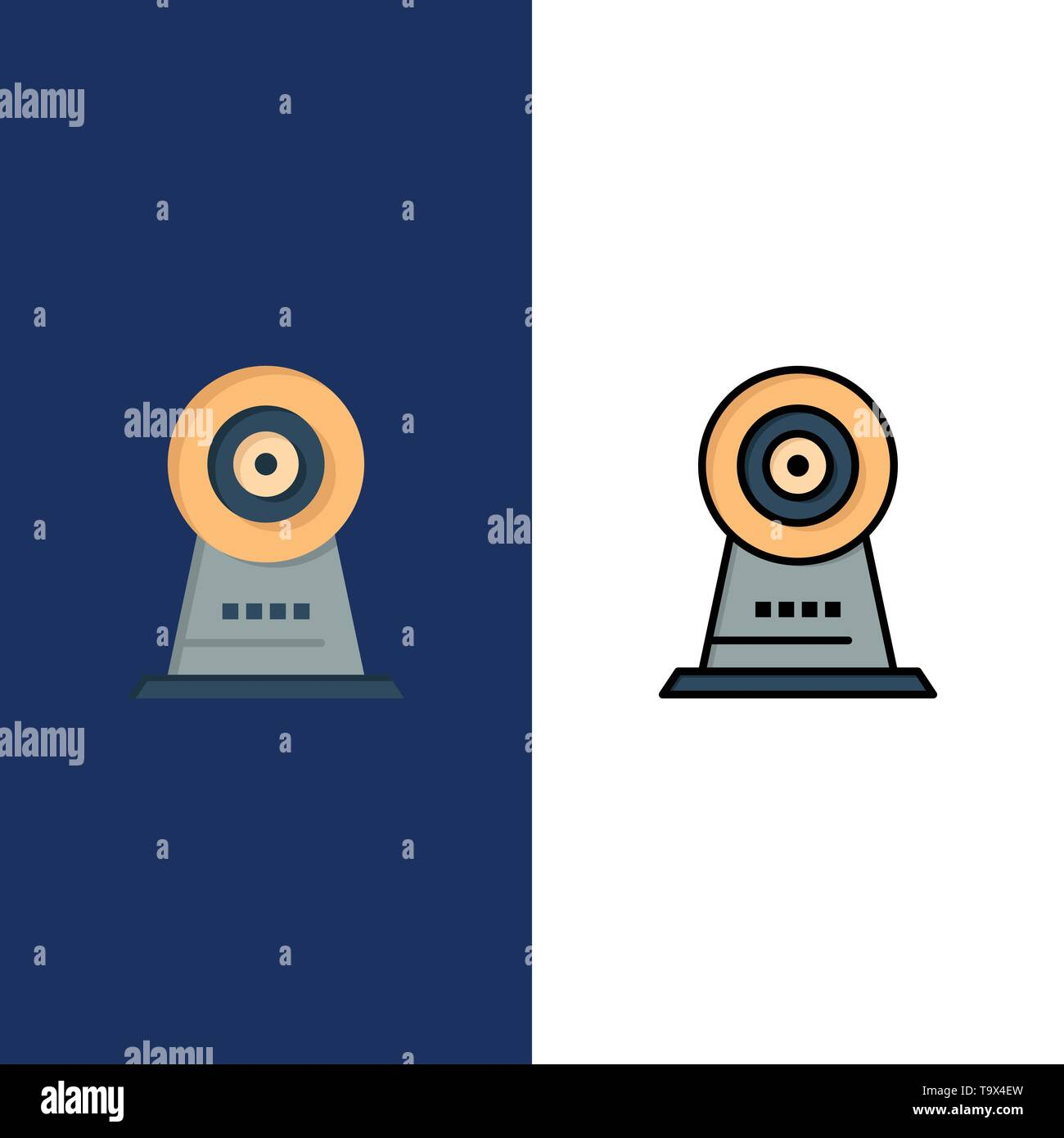 Camera, Webcam, Security, Hotel  Icons. Flat and Line Filled Icon Set Vector Blue Background - Stock Image