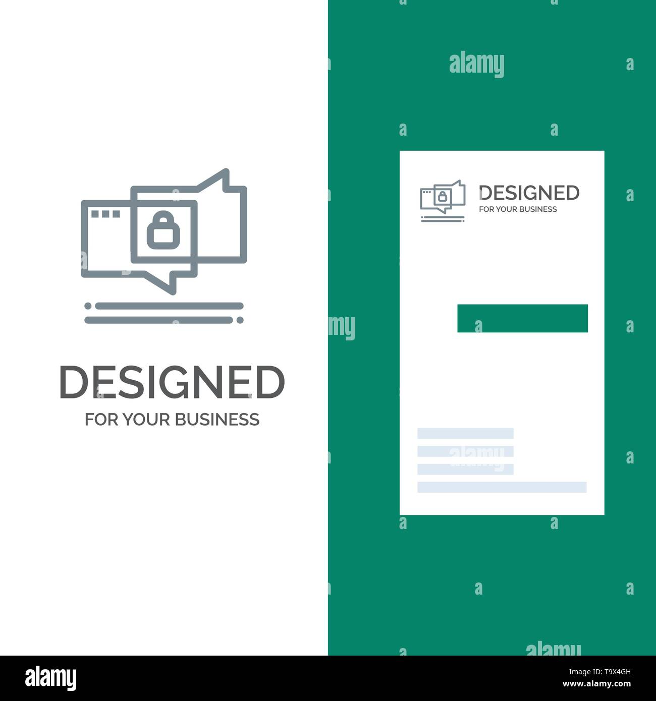 Chat, Chatting, Security, Secure Grey Logo Design and Business Card Template - Stock Image