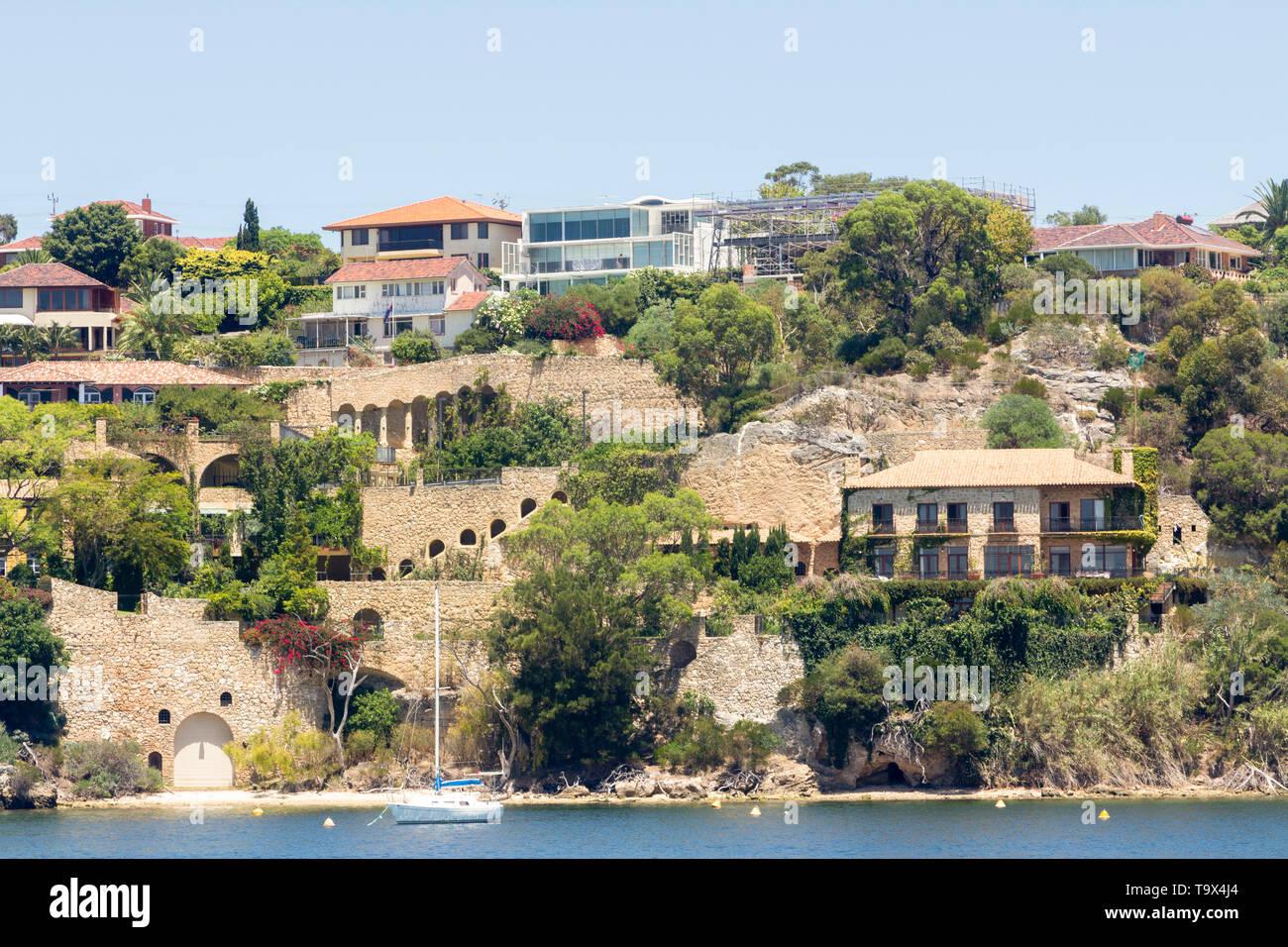 Perth, Western Australia State/Australia 01/21/2013. Million dollar homes on the Swan River, Mosman Park Western Australia. - Stock Image