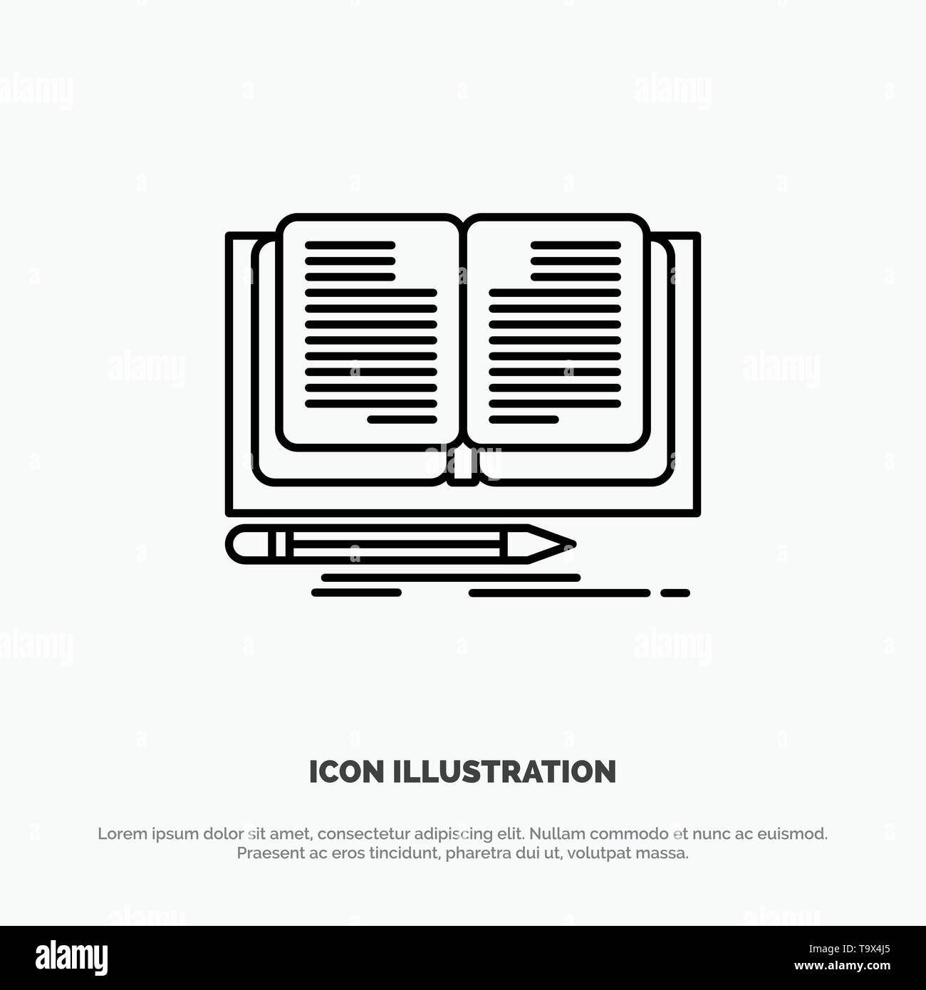 Writing, Novel, Book, Story Line Icon Vector - Stock Image
