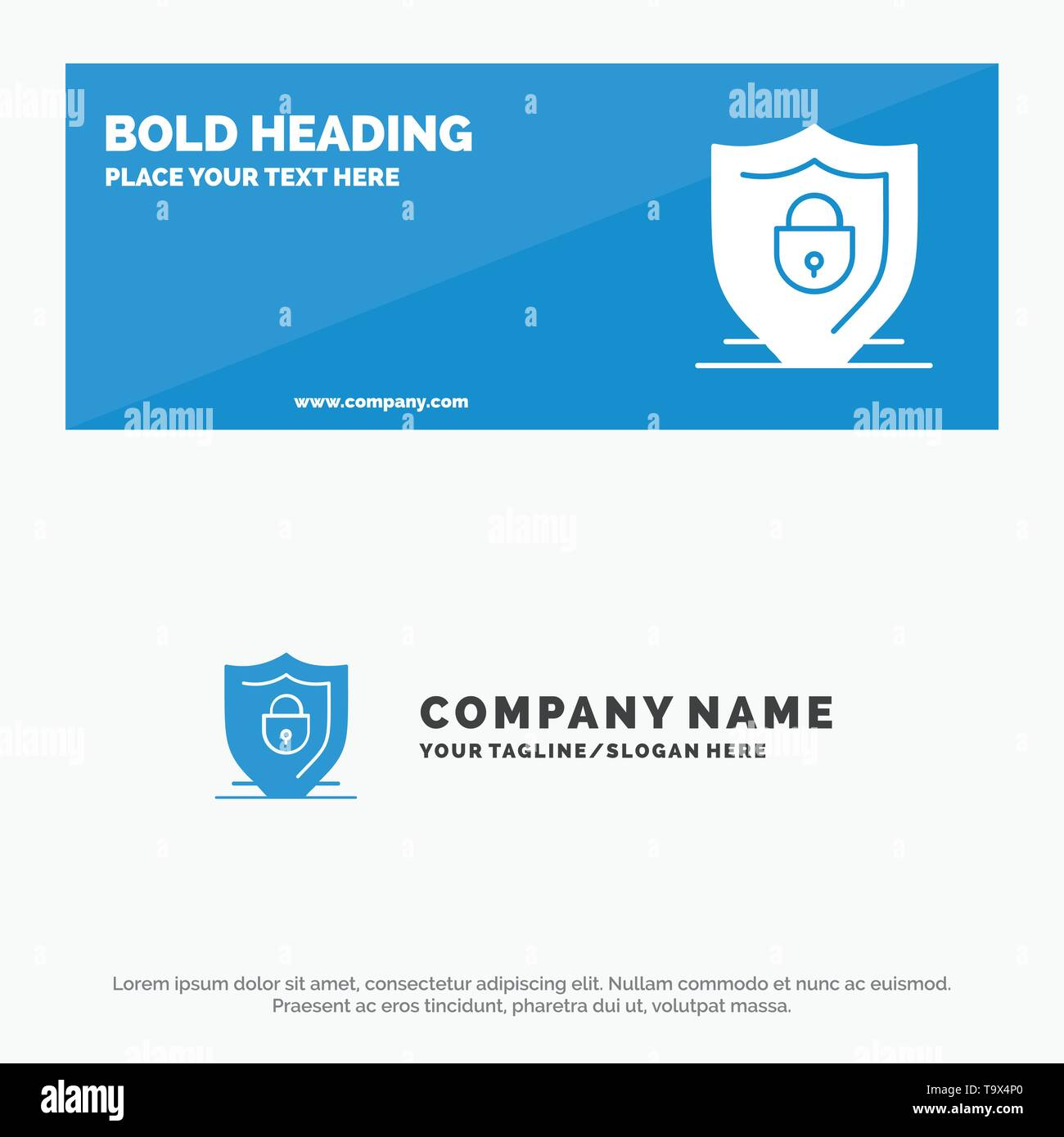 Internet, Shield, Lock, Security SOlid Icon Website Banner and Business Logo Template - Stock Image