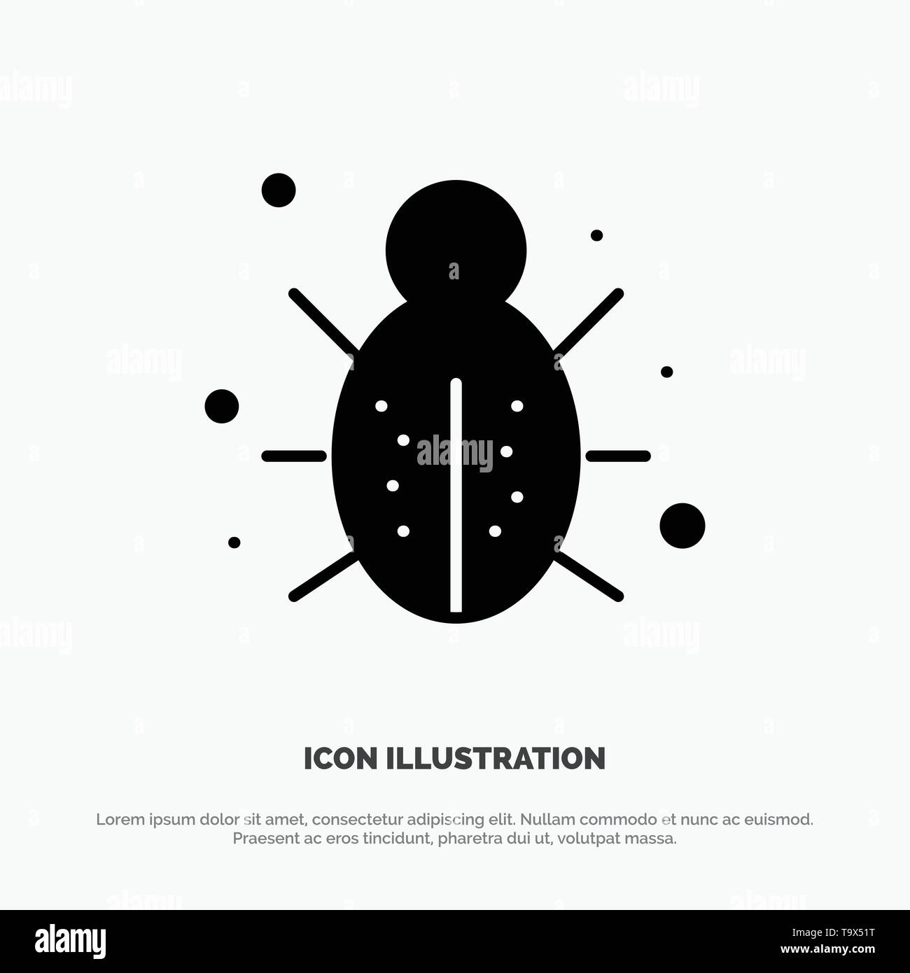 Bug, Internet, Network, Protection, Security solid Glyph Icon vector - Stock Image