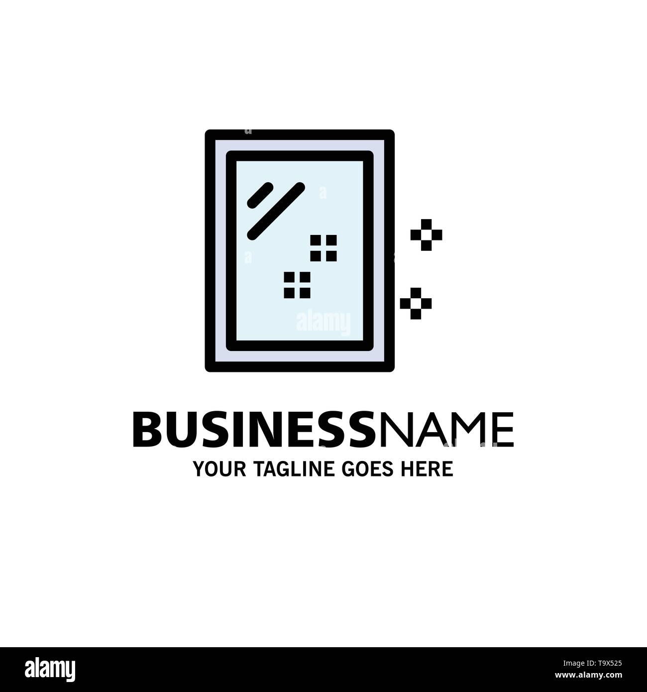 Door, Mirror, Cleaning, Wash Business Logo Template. Flat Color - Stock Image