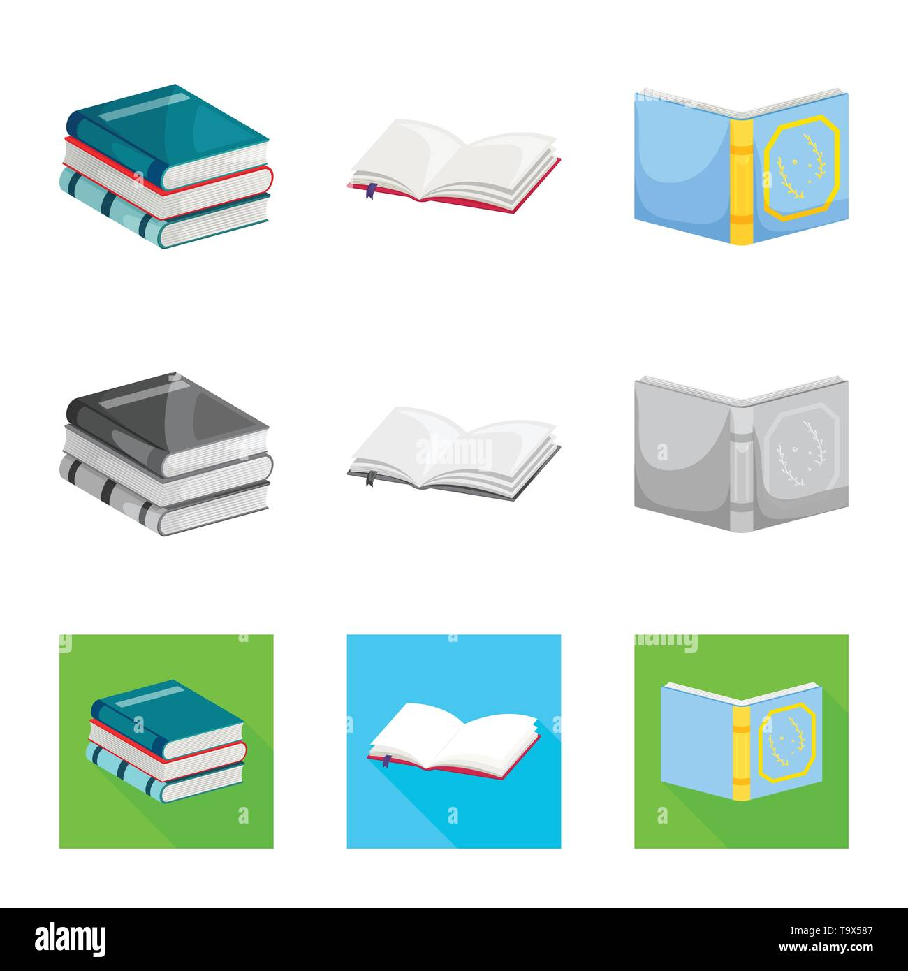 Isolated object of training and cover symbol. Collection of training and bookstore  vector icon for stock. - Stock Image
