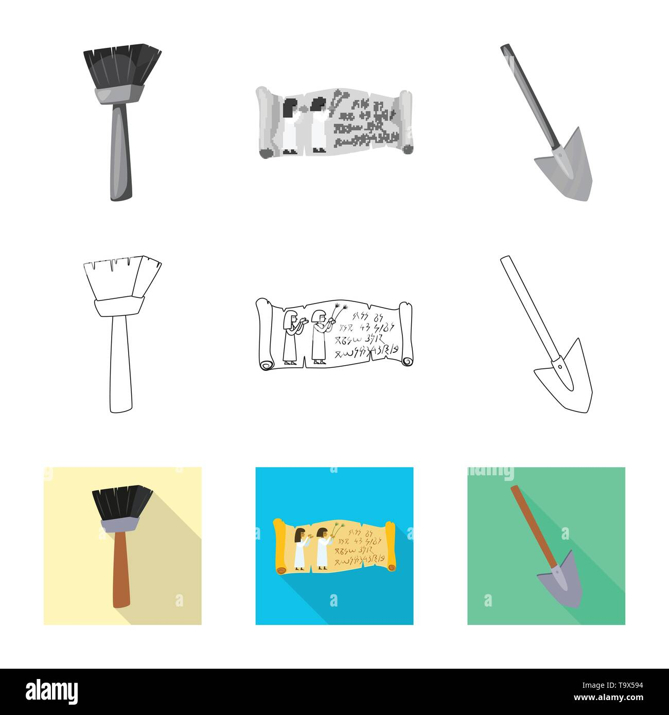 Vector illustration of story and items symbol. Collection of story and attributes  stock symbol for web. - Stock Image