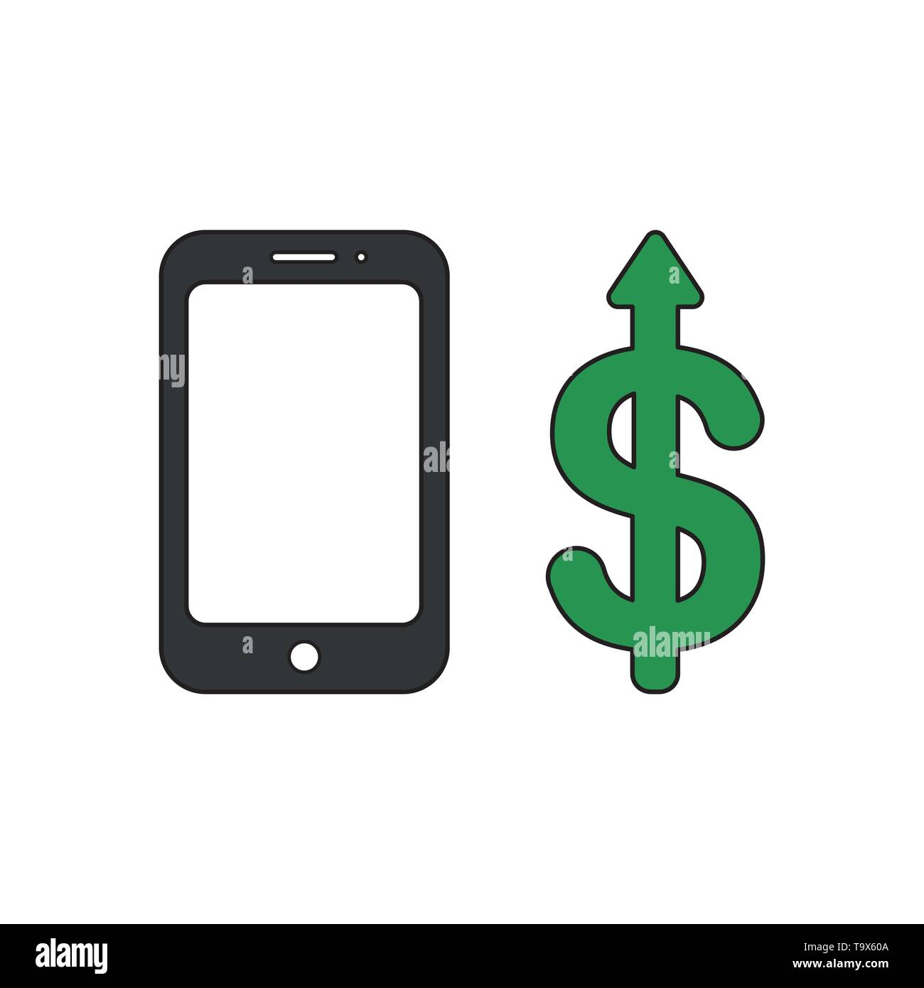 Vector icon concept of smartphone with dollar money arrow moving up. Black outlines and colored. - Stock Vector