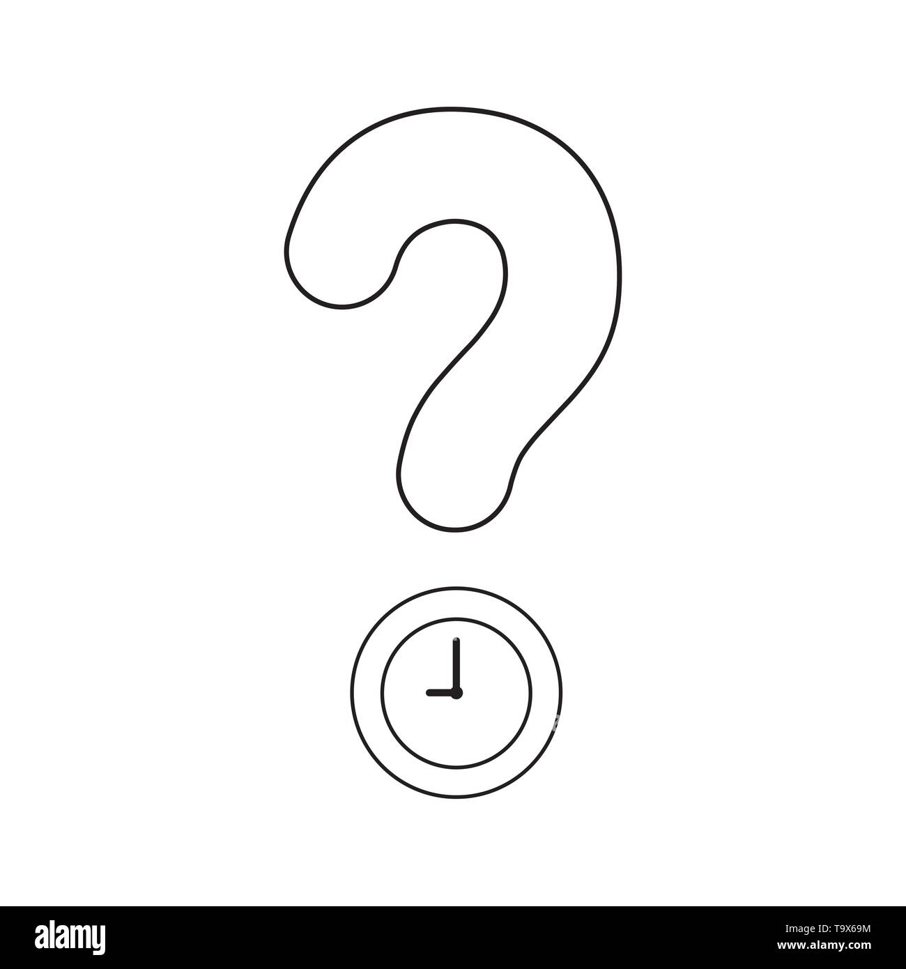 Vector icon concept of question mark with clock time. Black outlines. - Stock Image
