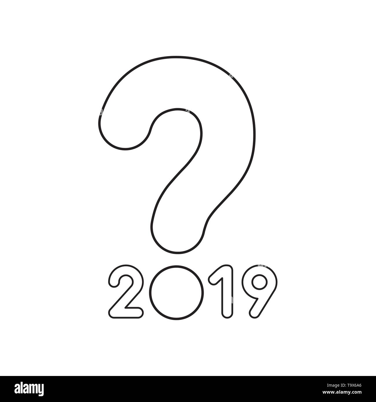 Vector icon concept of year of 2019 with question mark. Black outlines. - Stock Image