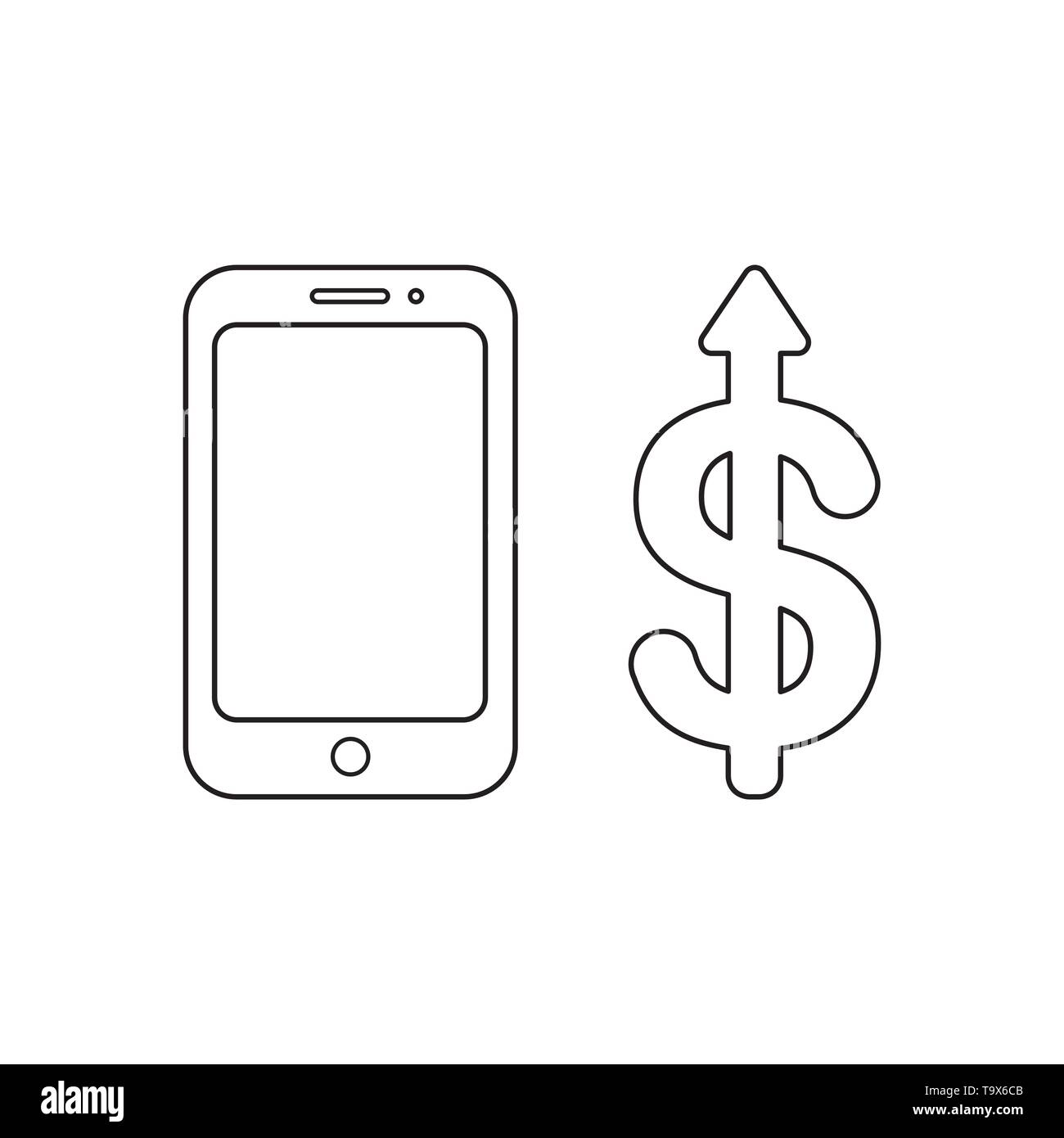 Vector icon concept of smartphone with dollar arrow moving up. Black outlines. - Stock Vector