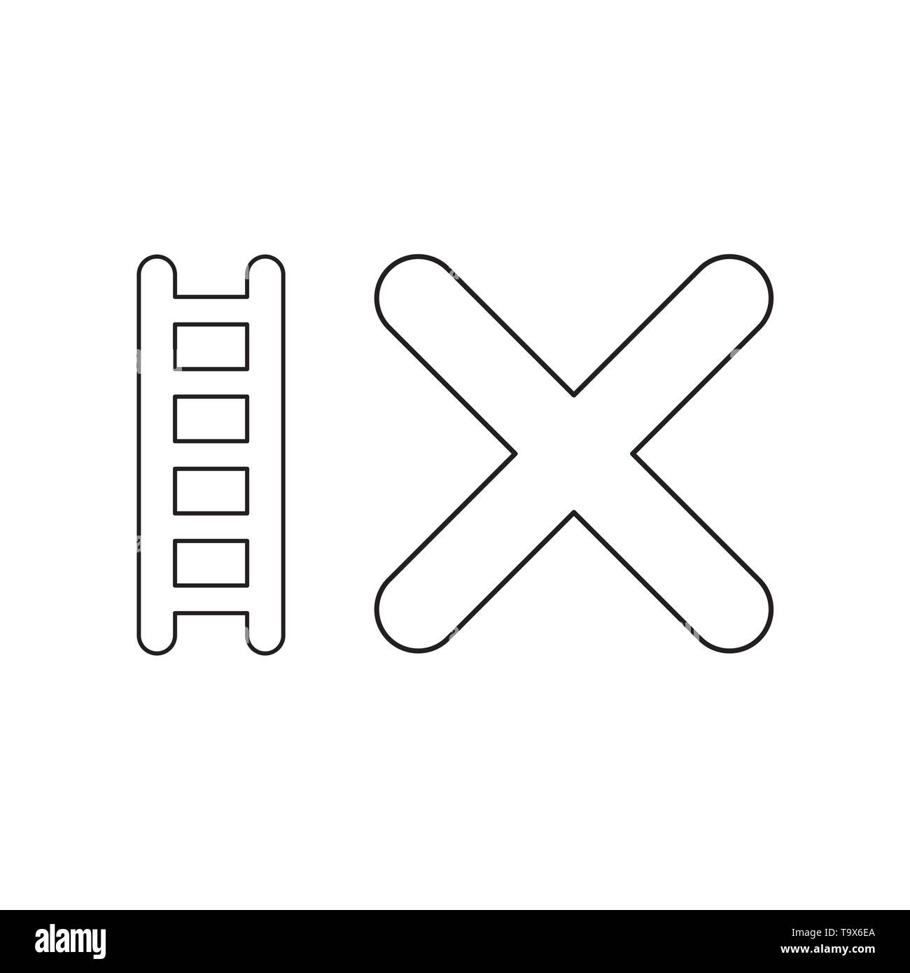 Vector icon concept of ladder with x mark. Black outlines. - Stock Image
