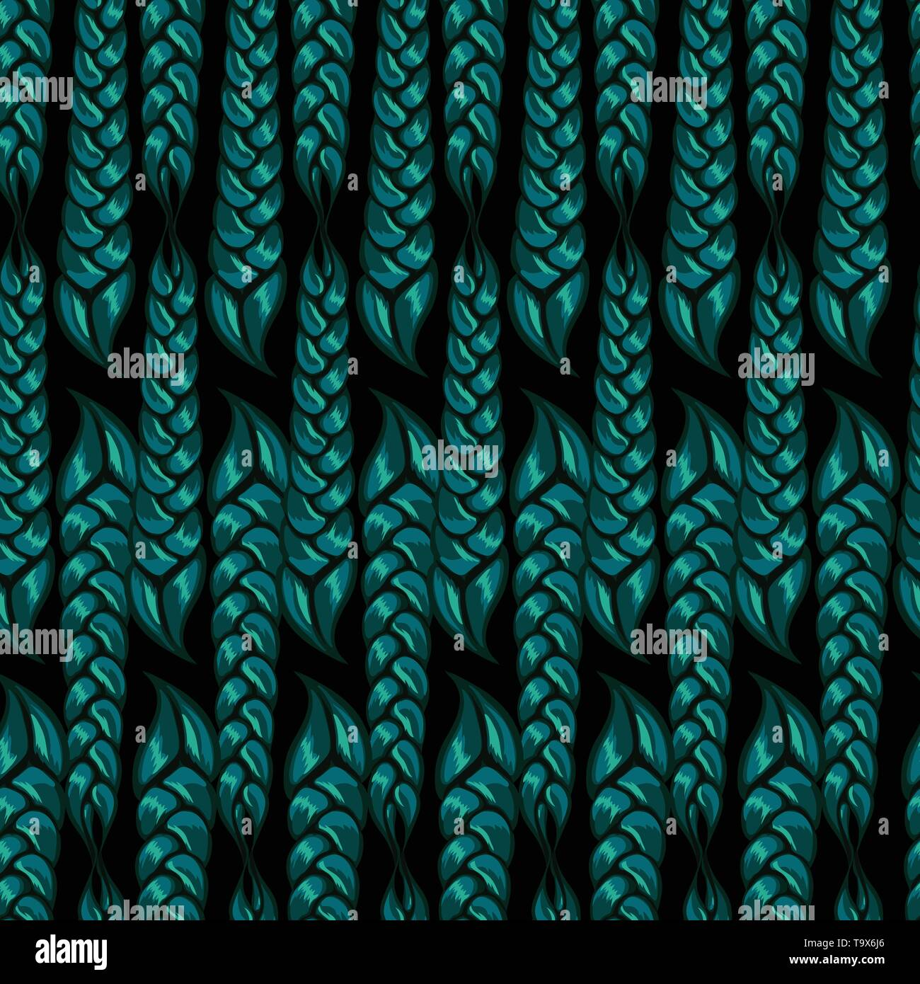 seamless pattern of braided braids of green color. Vector illustration - Stock Image