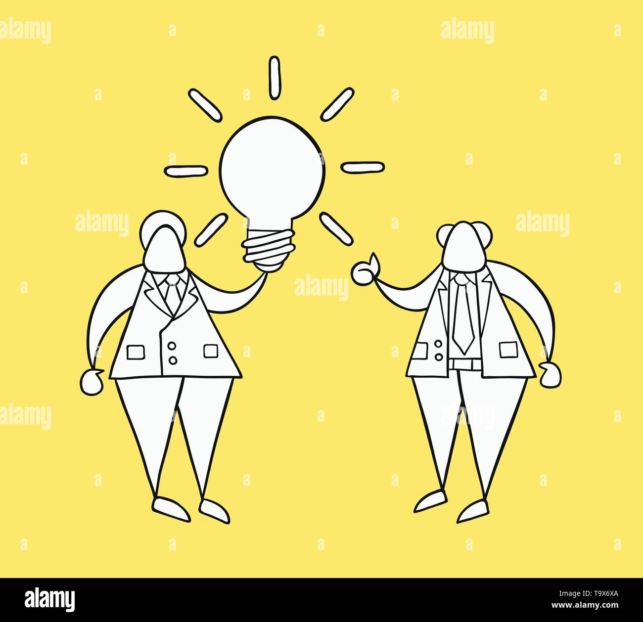 Hand-drawn vector illustration businessman worker holding glowing light-bulb, has a good idea and boss showing thumbs-up. White colored and black outl - Stock Image