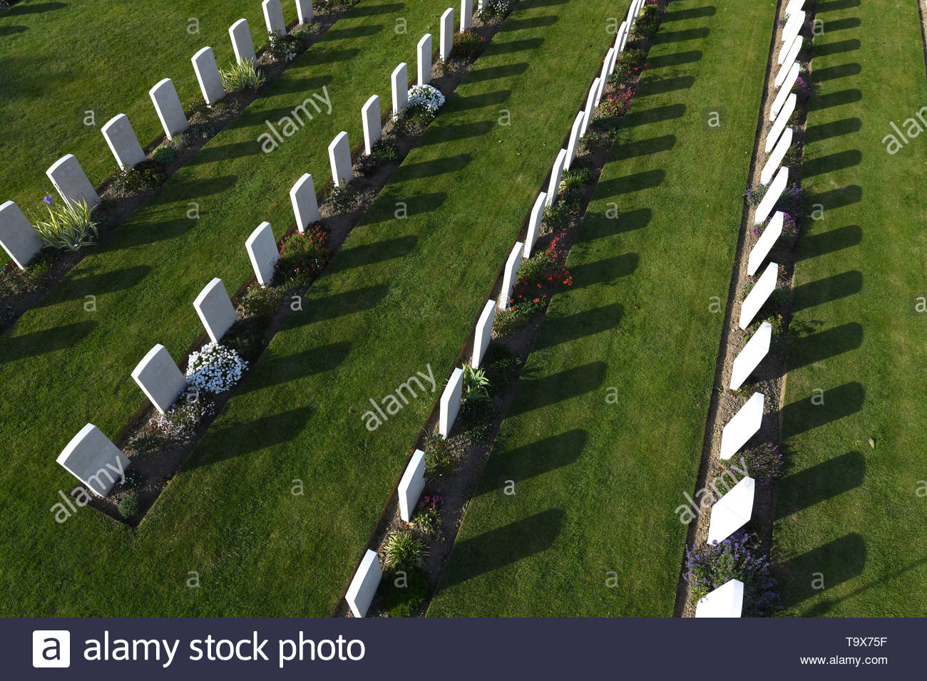 Bayeux War Cemetery in Normandy, France. It is the largest Second World War cemetery of Commonwealth soldiers in France with 4144 burials Stock Photo