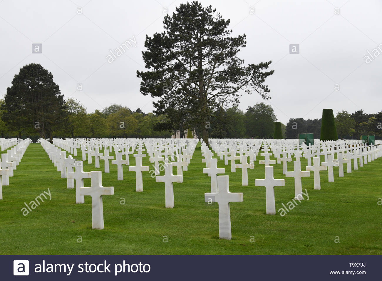 The Normandy American Cemetery and Memorial is a World War II cemetery and memorial in Colleville-sur-Mer, Normandy, France Stock Photo
