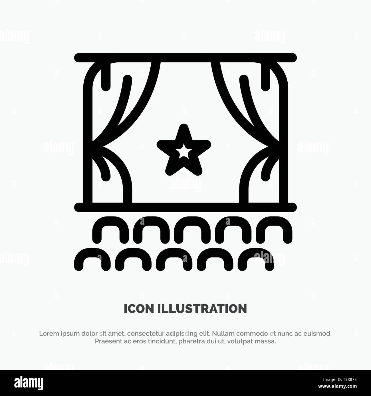 Cinema, Debut, Film, Performance, Premiere Line Icon Vector - Stock Image