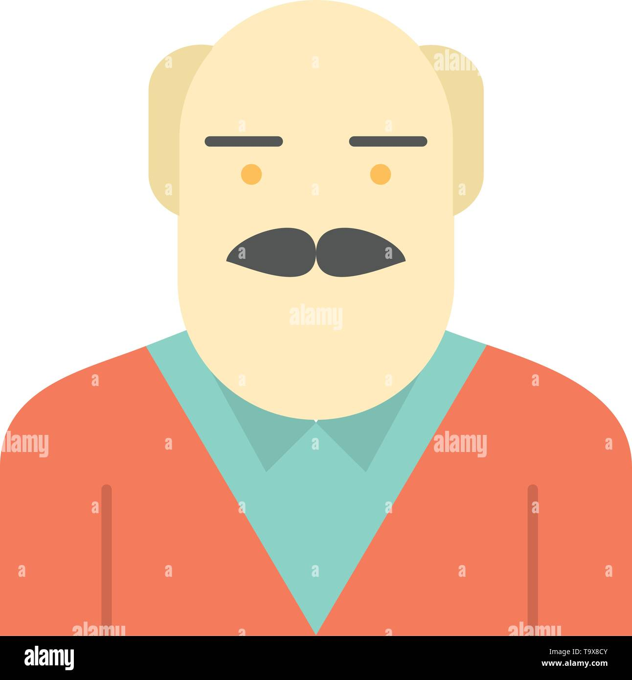 Grandpa, Father, Old Man, Uncle  Flat Color Icon. Vector icon banner Template - Stock Vector