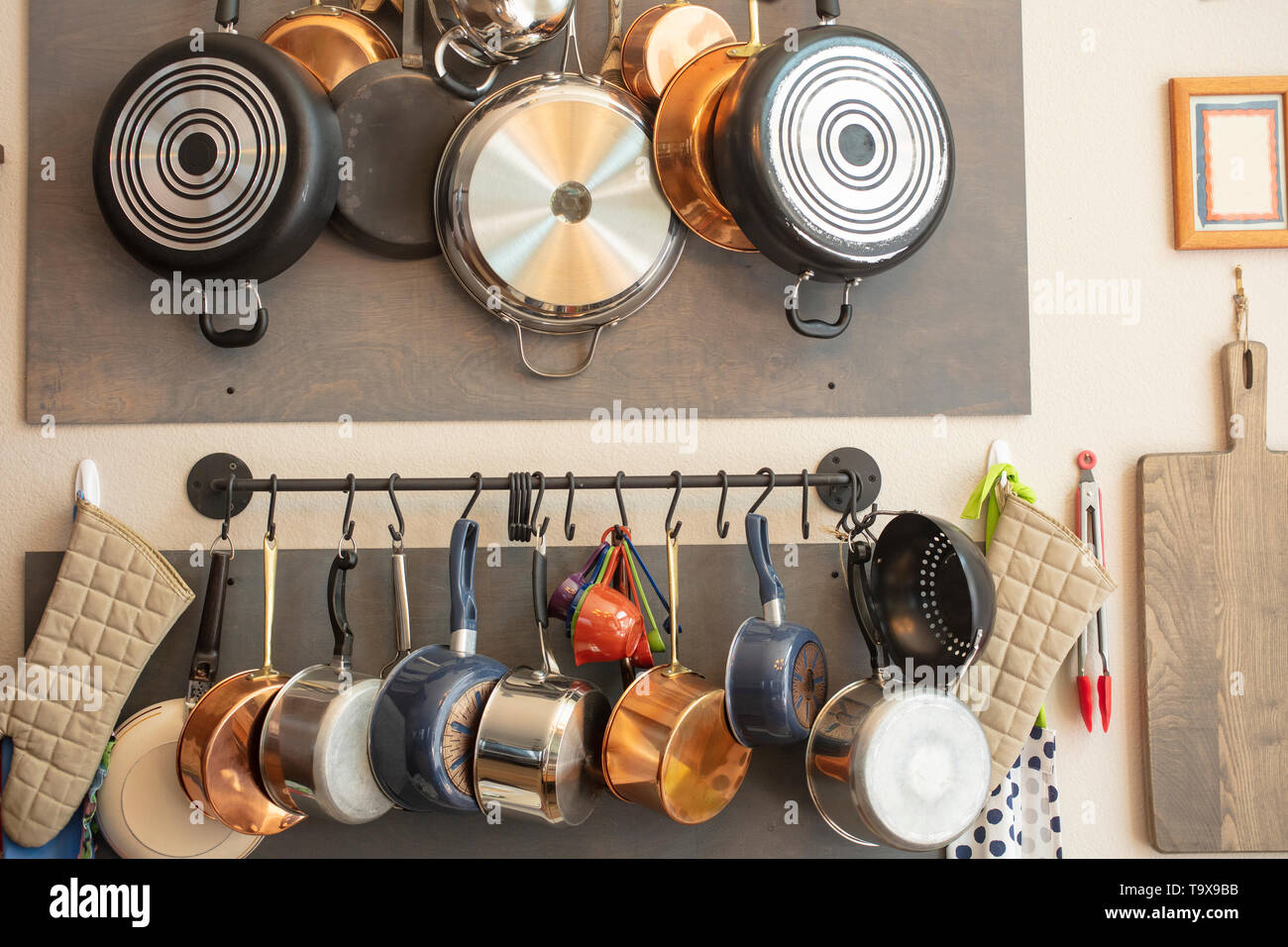 Kitchen wall rack for hanging pots, pans, aprons, and other ...