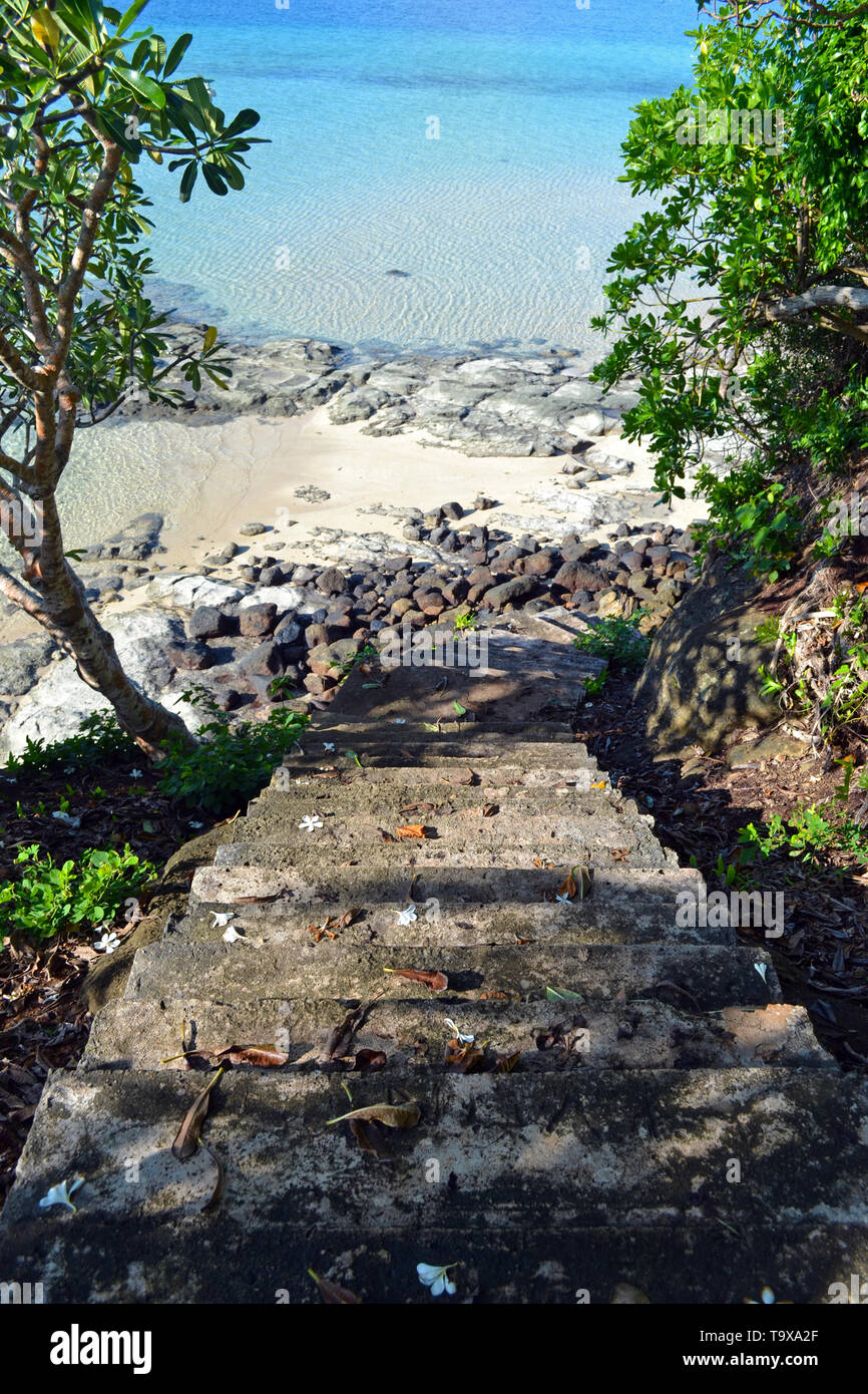 Stairway to a beach in the Nukuatea motu, Wallis Island, Wallis & Futuna, South Pacific - Stock Image