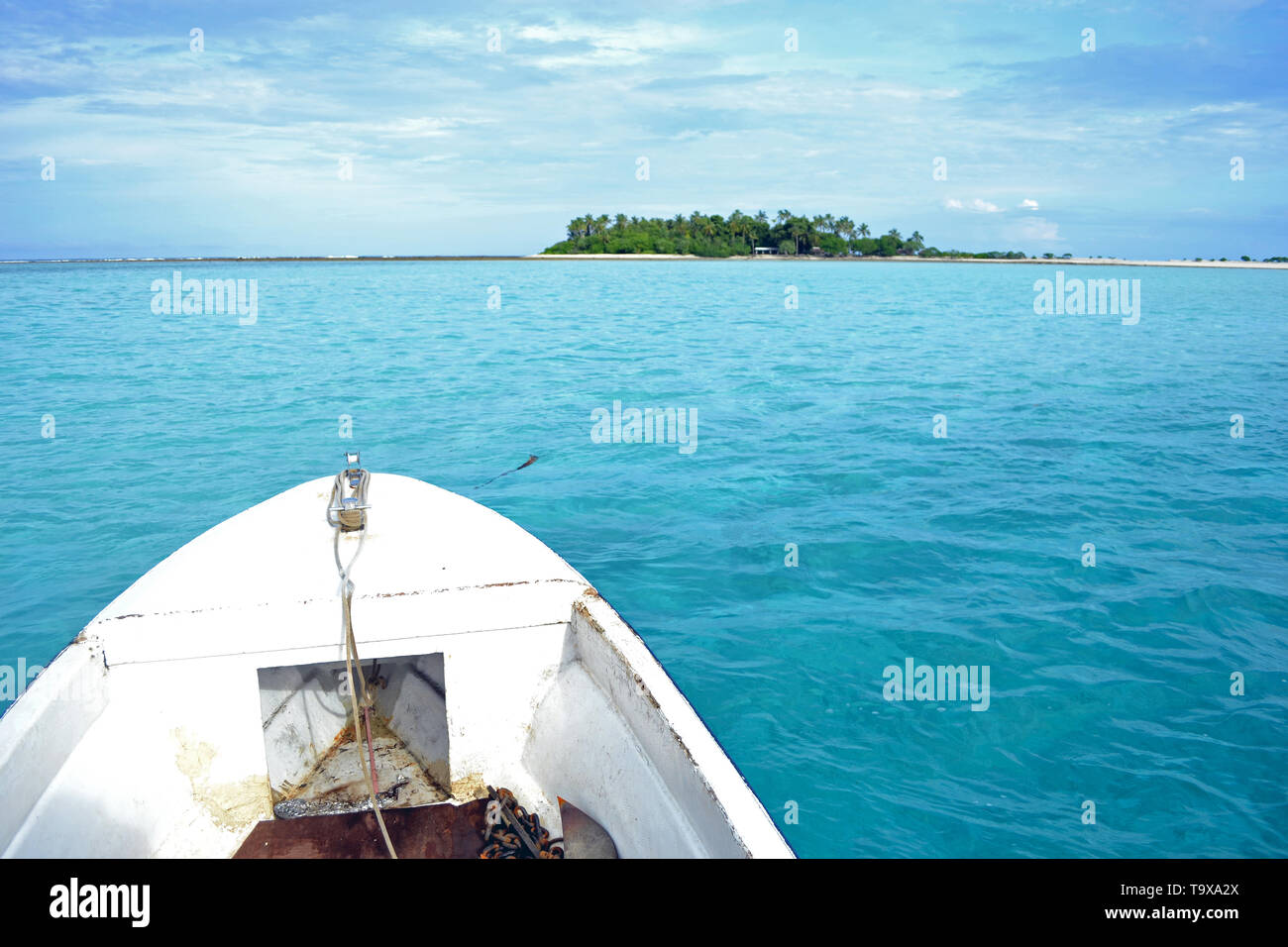 Boat view of Nukuhione motu, Wallis Island, Wallis & Futuna, South Pacific - Stock Image