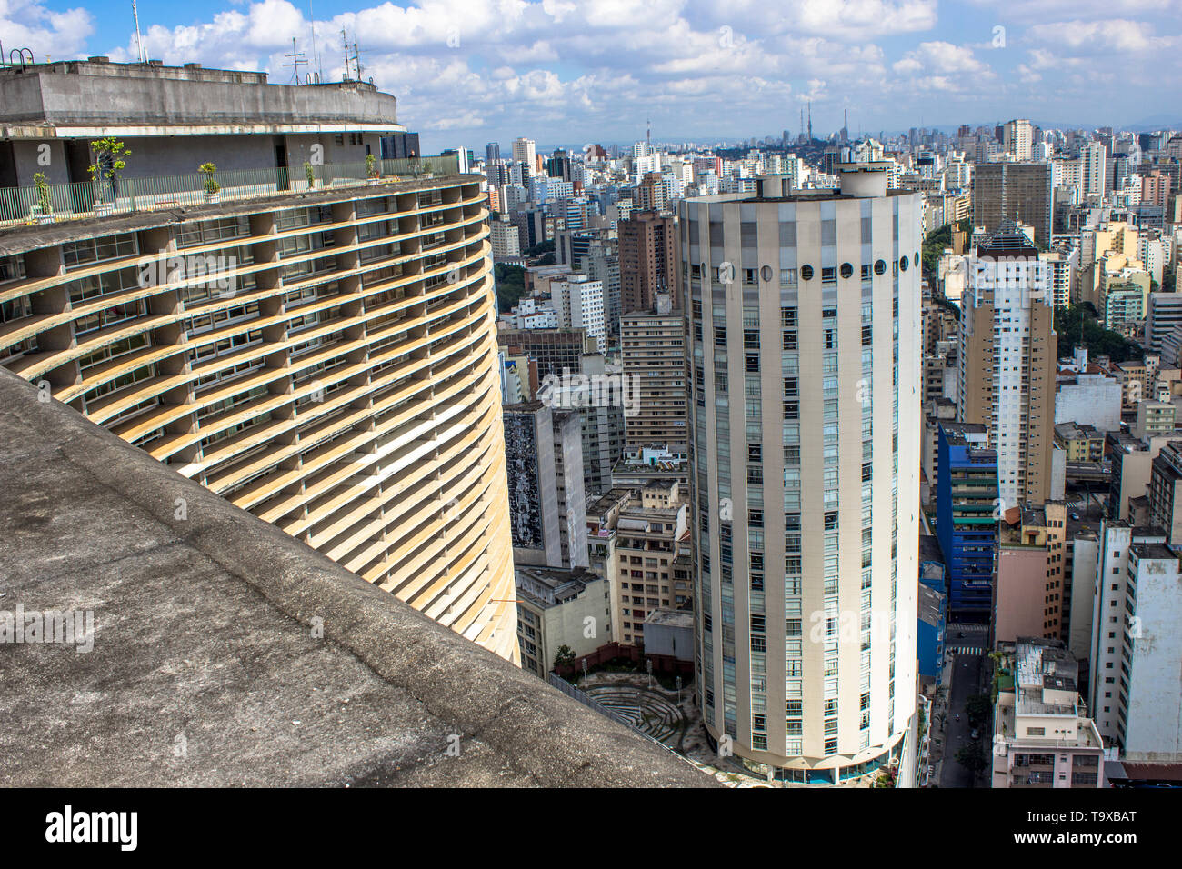 Sao Paulo, SP, Brazil, April 17, 2013. Panoramic view of the city from the terrace of the Copan Building, in the center of Sao Paulo, SP. Stock Photo