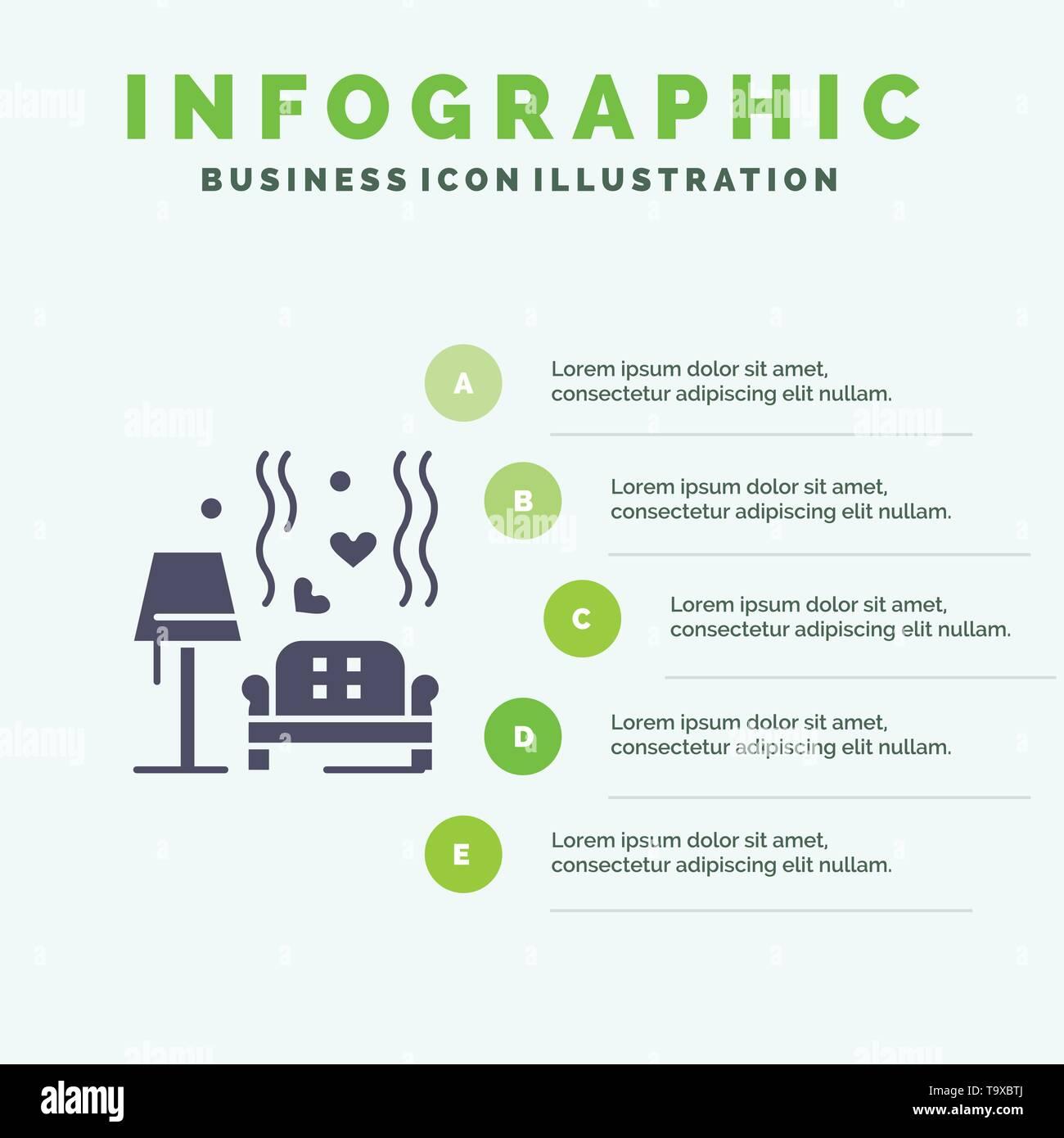 Lump, Sofa, Love, Heart, Wedding Solid Icon Infographics 5 Steps Presentation Background - Stock Image
