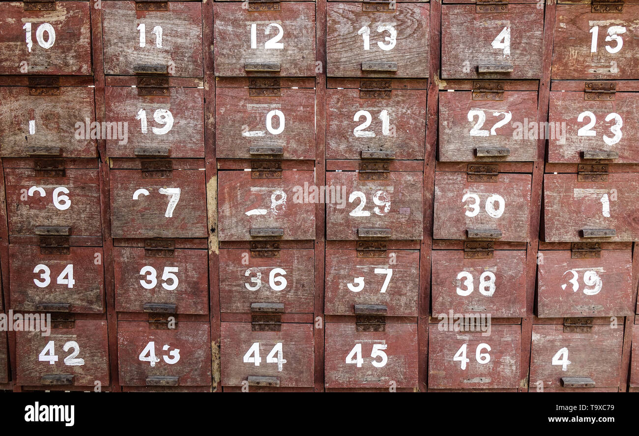 Old wooden cabinets of ancient building in Mandalay, Myanmar. - Stock Image