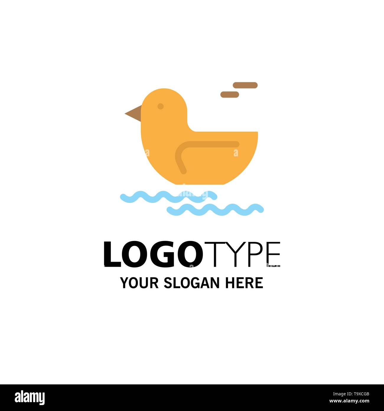 Duck, River, Canada Business Logo Template. Flat Color - Stock Image