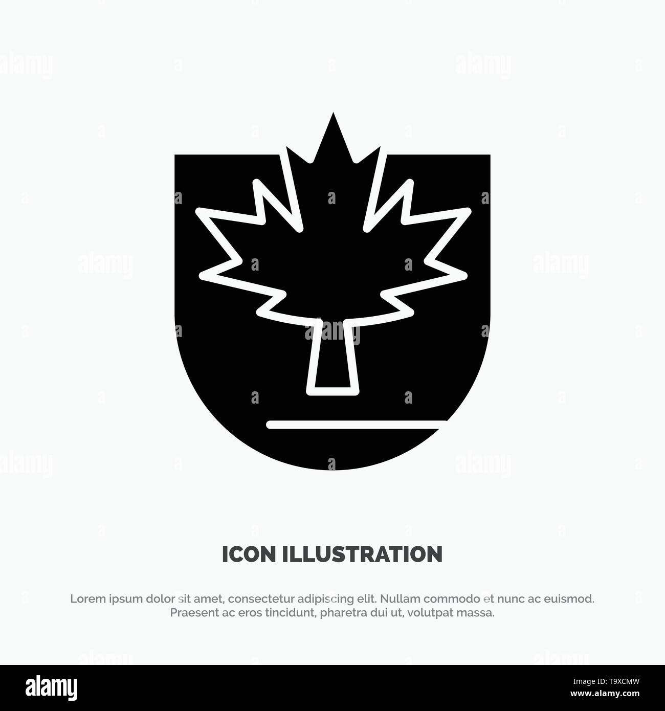 Security, Leaf, Canada, Shield solid Glyph Icon vector - Stock Image