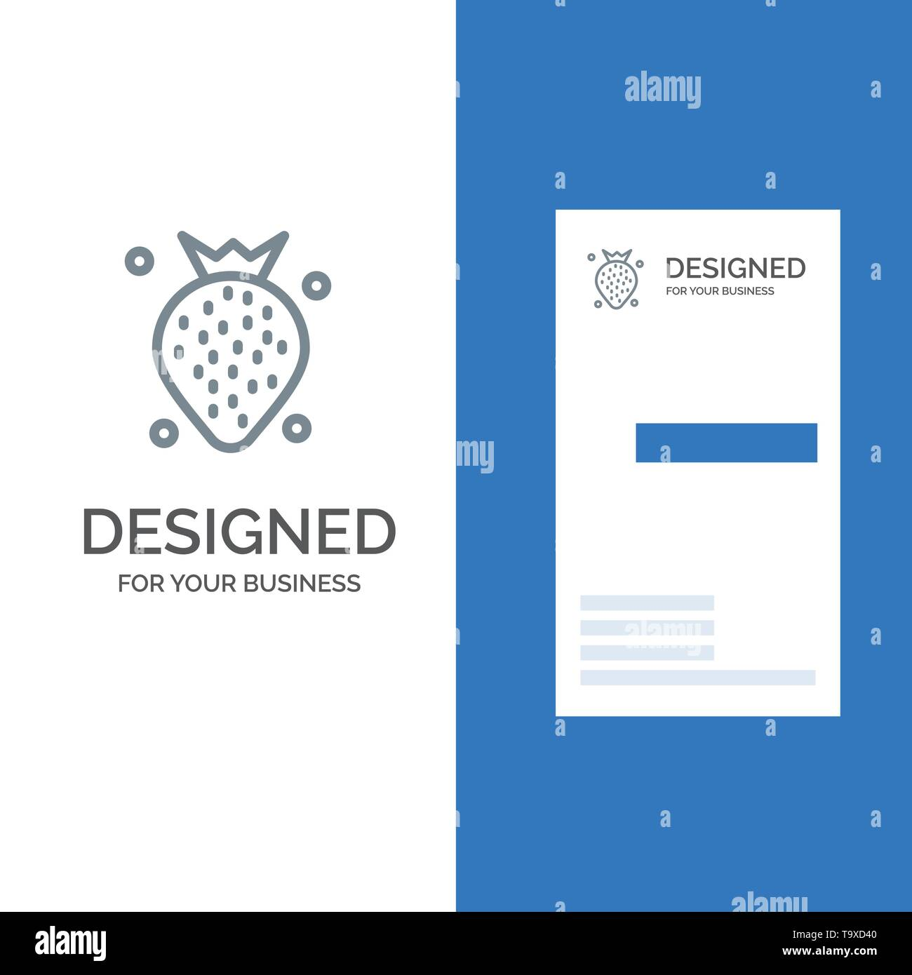 Strawberry, Food, Fruit, Berry Grey Logo Design and Business Card Template - Stock Image