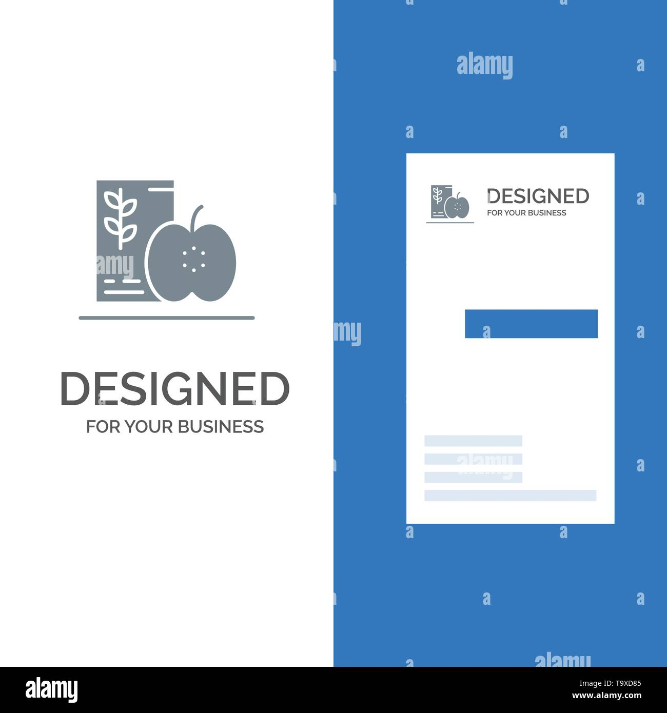 Breakfast, Diet, Food, Fruits, Healthy Grey Logo Design and Business Card Template - Stock Image