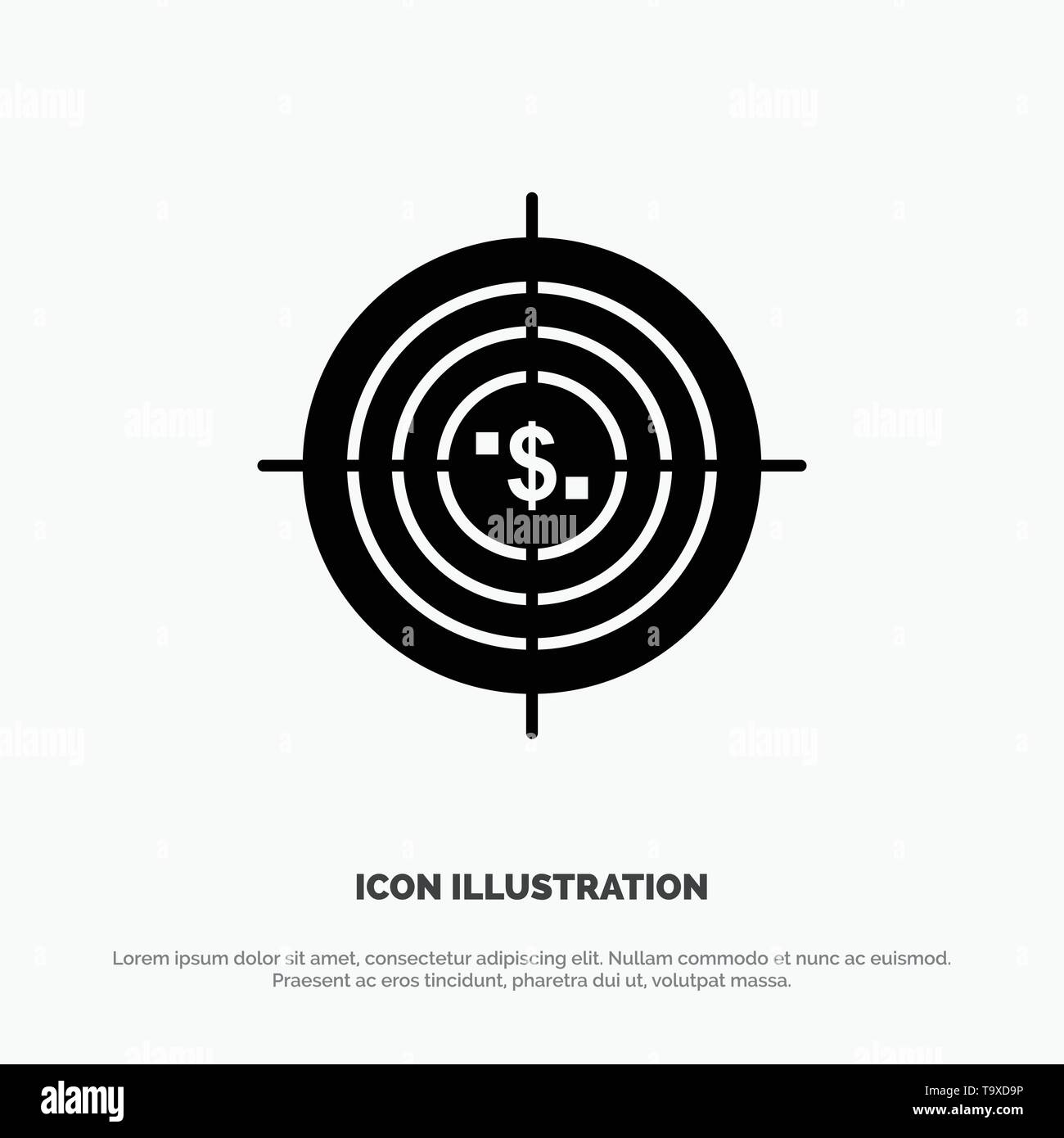 Target, Aim, Business, Cash, Financial, Funds, Hunting, Money solid Glyph Icon vector - Stock Image