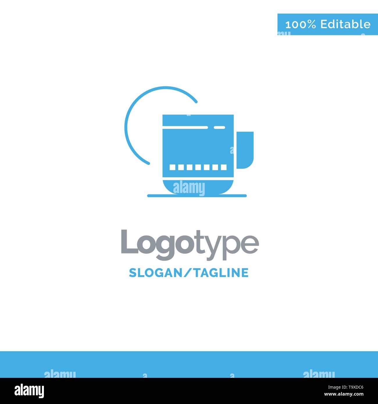 Tea, Hot, Hotel, Service Blue Business Logo Template - Stock Image
