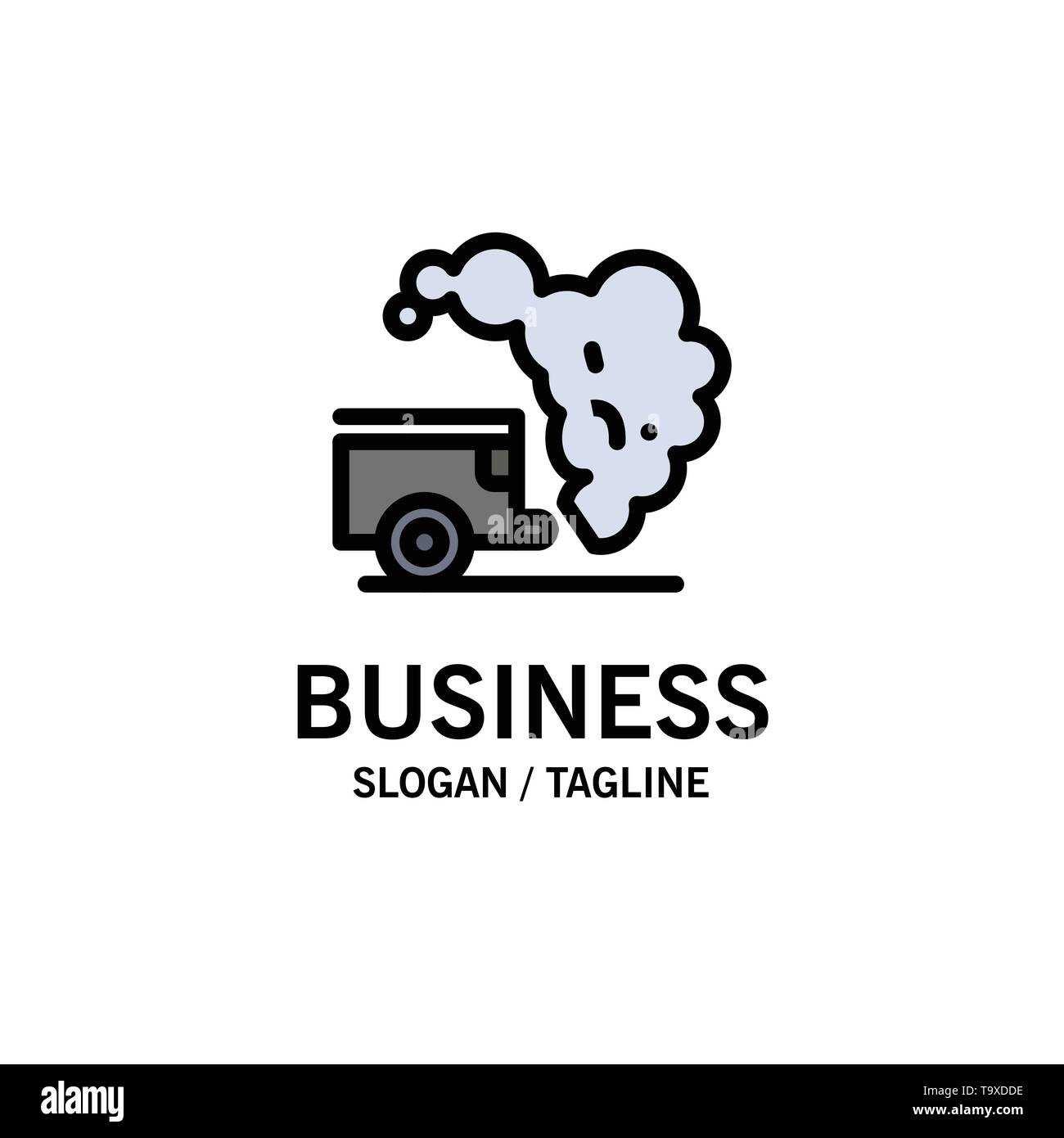 Dump, Environment, Garbage, Pollution Business Logo Template. Flat Color - Stock Image