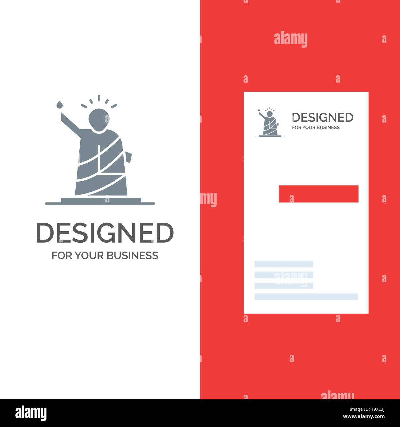Landmarks, Liberty, Of, Statue, Usa Grey Logo Design and Business Card Template Stock Vector
