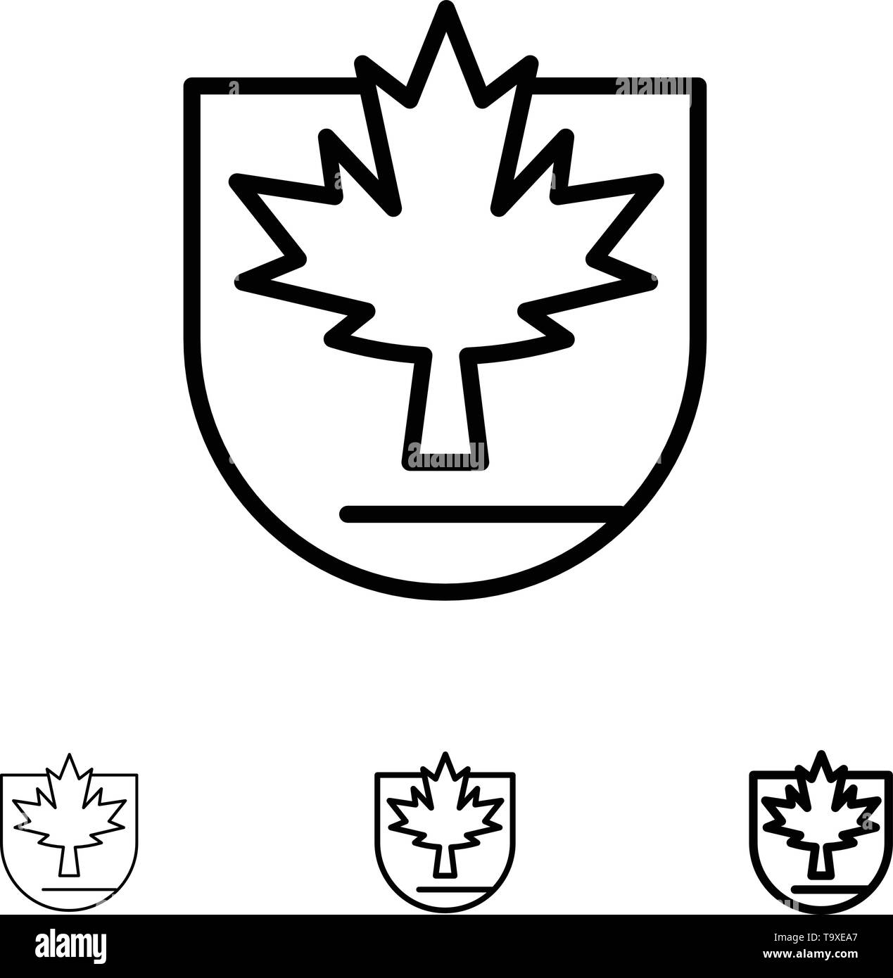 Security, Leaf, Canada, Shield Bold and thin black line icon set - Stock Image