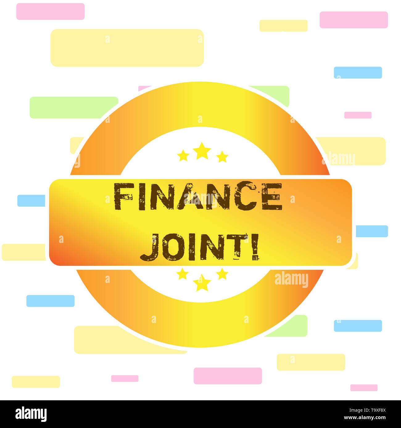 Conceptual hand writing showing Finance Joint. Concept meaning provision of funds for a project came from two or more sources Colored Round Shape Labe - Stock Image