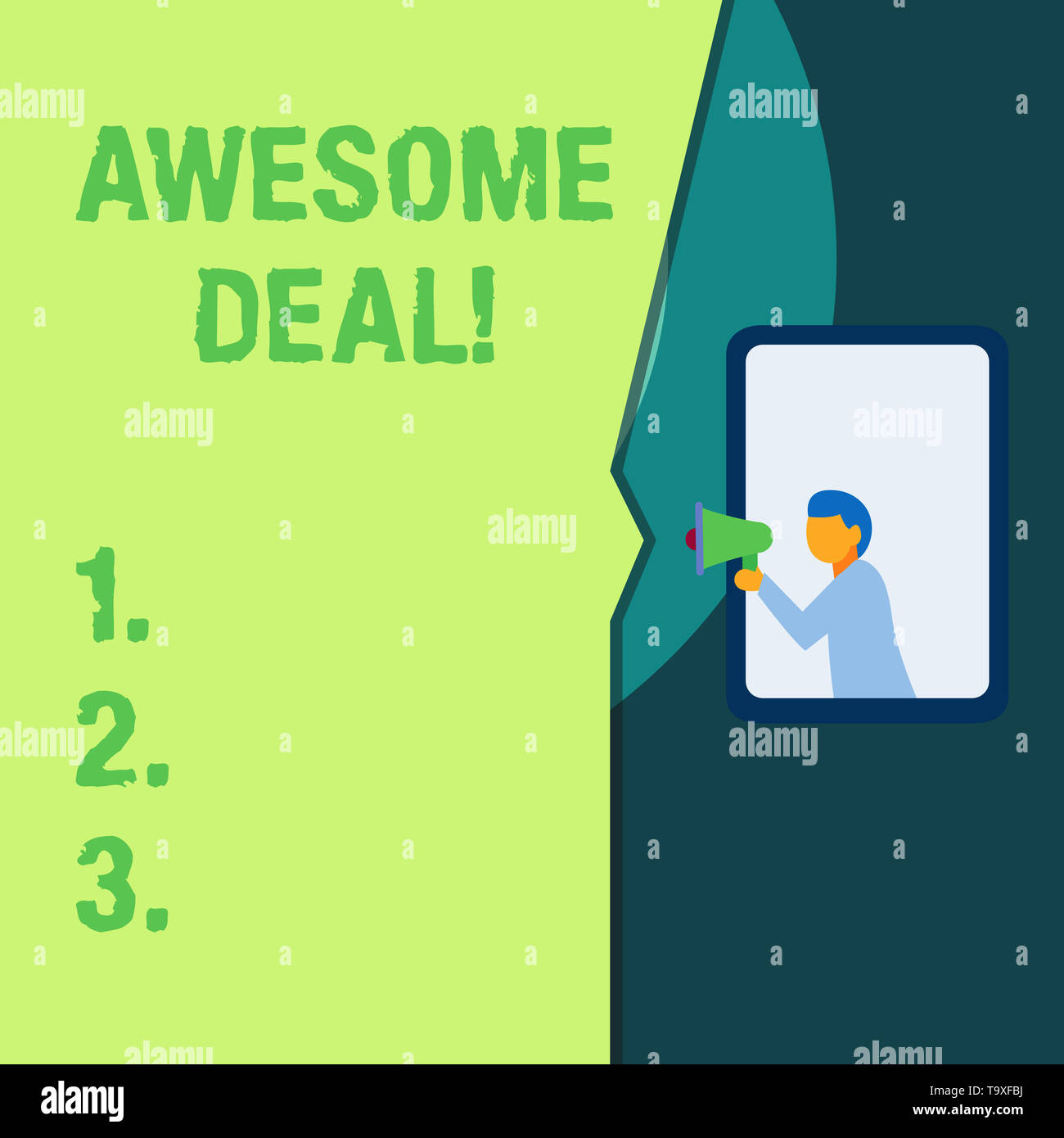 Conceptual hand writing showing Awesome Deal. Concept meaning A large but indefinite quantity as like as a good deal of money - Stock Image