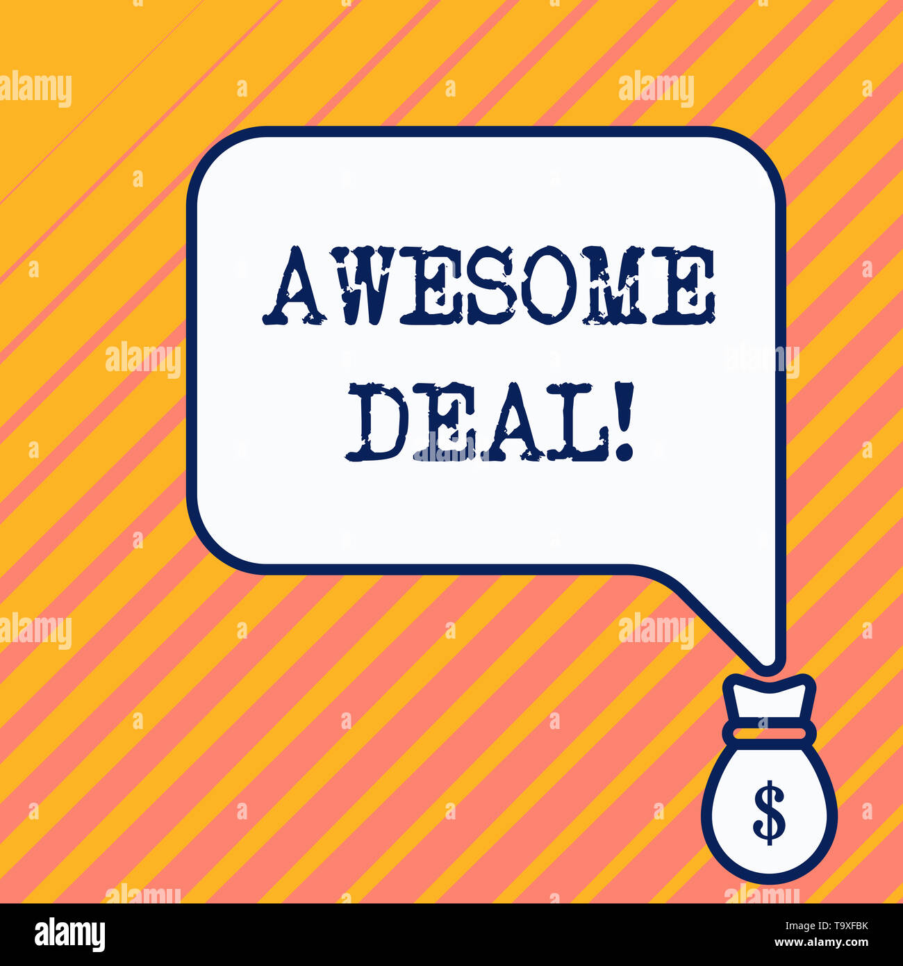 Word writing text Awesome Deal. Business photo showcasing A large but indefinite quantity as like as a good deal of money Bag pocket of thousand dolla - Stock Image