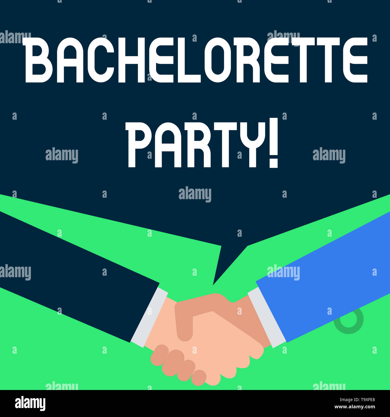 Writing note showing Bachelorette Party. Business concept for a party given for a woanalysis who is about to get married People have conversation gree - Stock Image
